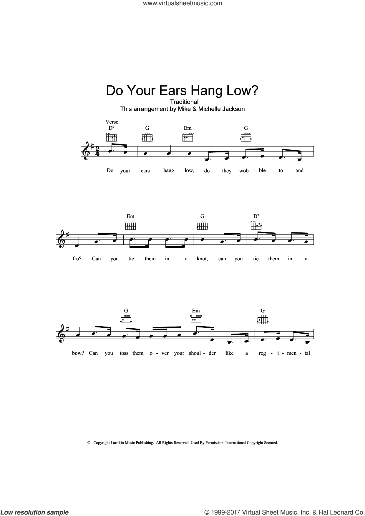 Do Your Ears Hang Low? sheet music for voice and other instruments (fake book), intermediate skill level