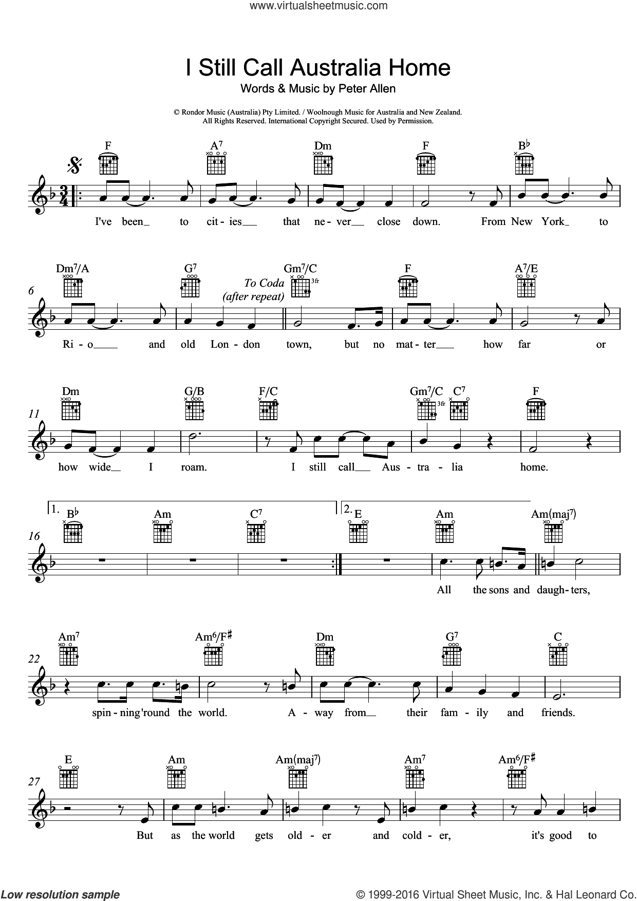 I Still Call Australia Home sheet music for voice and other instruments (fake book) by Peter Allen, intermediate skill level