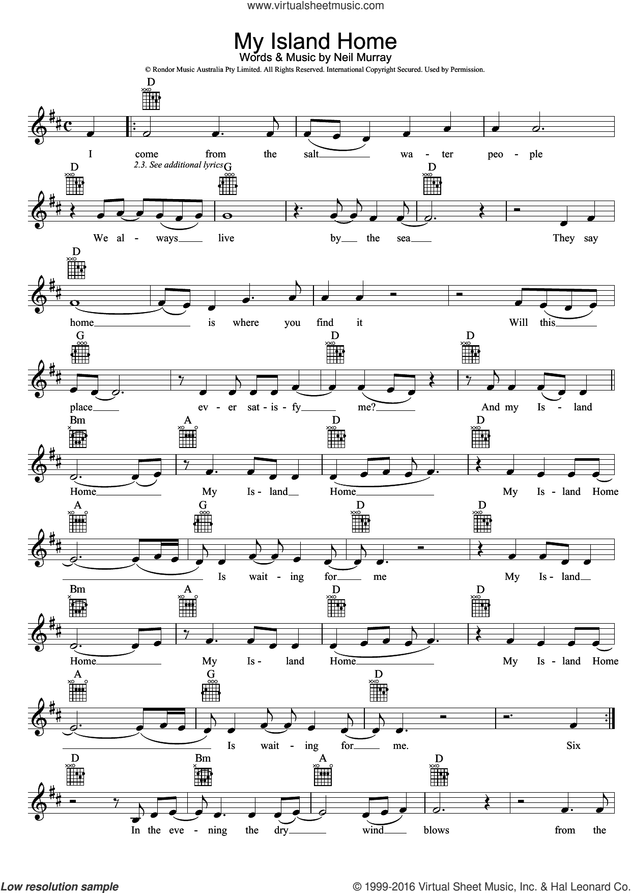 My Island Home sheet music for voice and other instruments (fake book) by Neil Murray. Score Image Preview.
