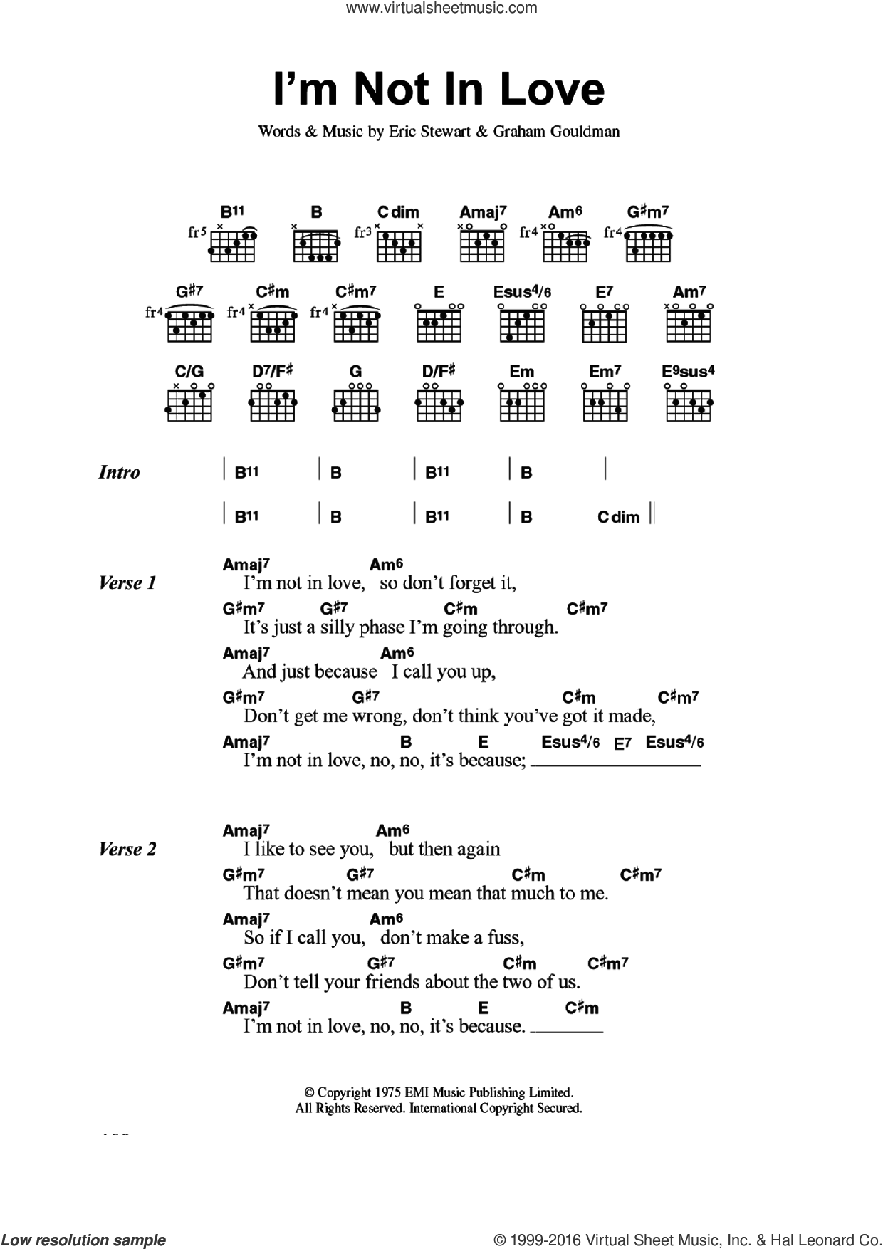 10cc Im Not In Love Sheet Music For Guitar Chords Pdf