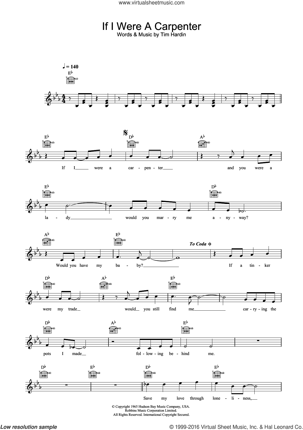 If I Were A Carpenter sheet music for voice and other instruments (fake book) by Bobby Darin and Tim Hardin, intermediate skill level