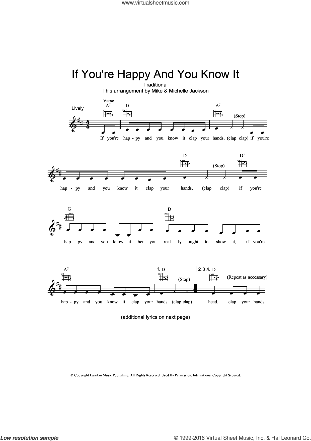 If You're Happy And You Know It sheet music for voice and other instruments (fake book), intermediate skill level