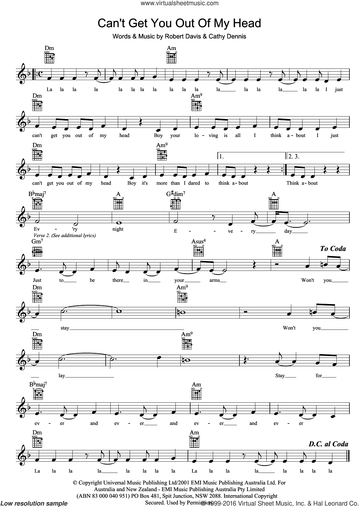 Can't Get You Out Of My Head sheet music for voice and other instruments (fake book) by Rob Davis, Kylie Minogue and Cathy Dennis. Score Image Preview.