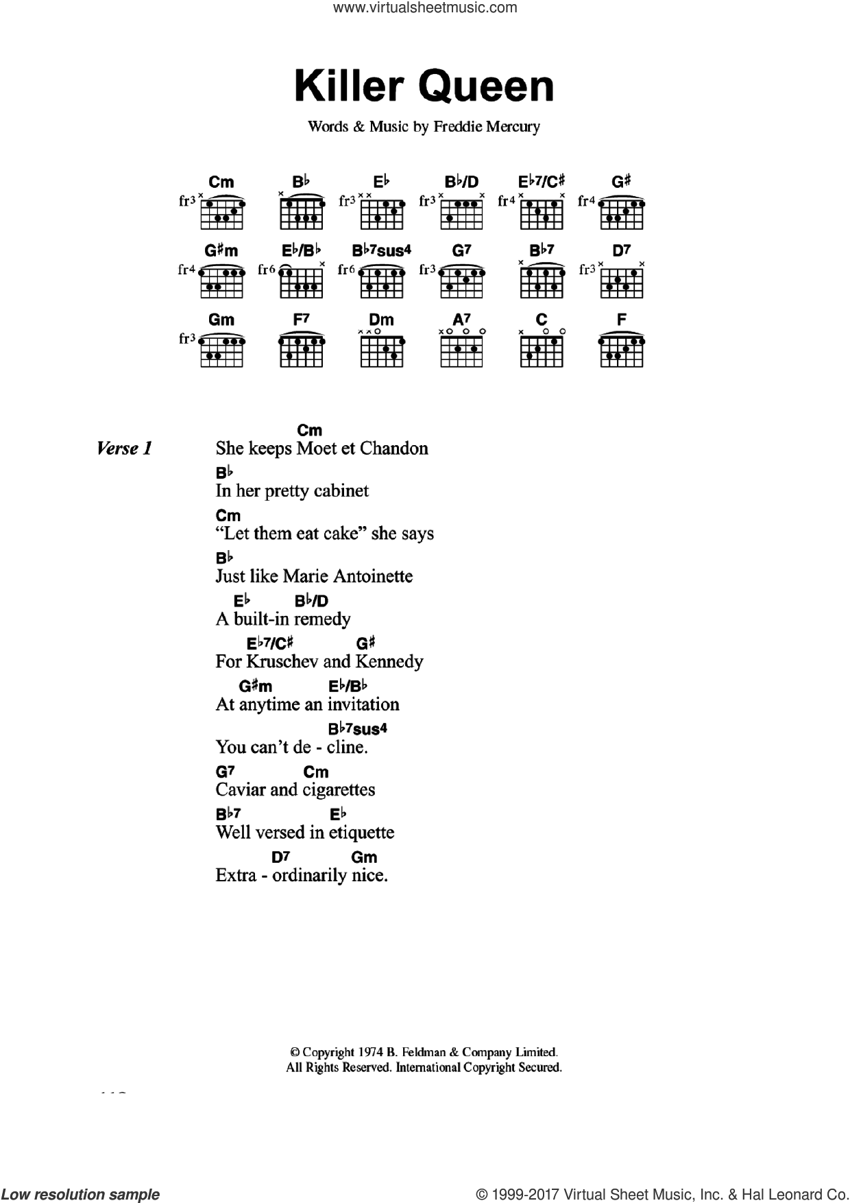 Killer Queen sheet music for guitar (chords) by Queen and Freddie Mercury, intermediate