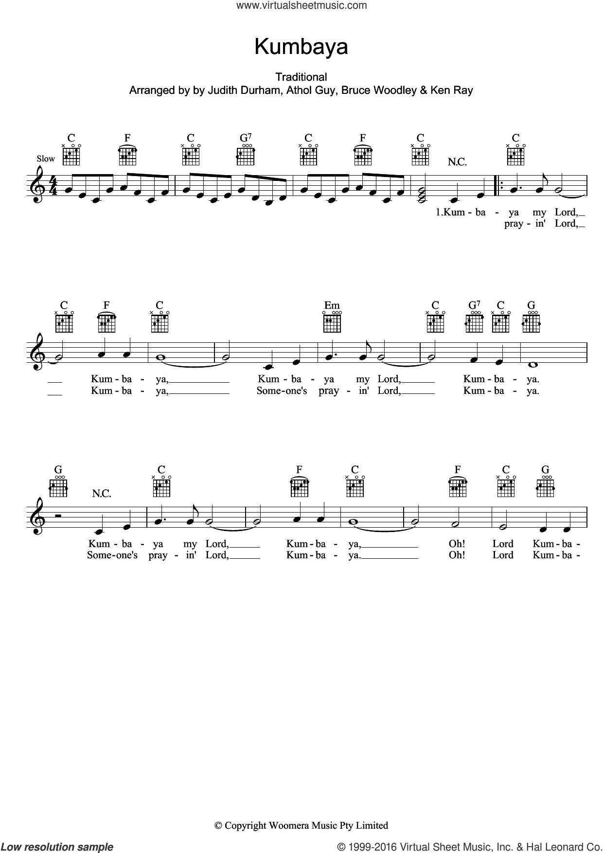 Kumbaya sheet music for voice and other instruments (fake book) by The Seekers and Miscellaneous, intermediate skill level
