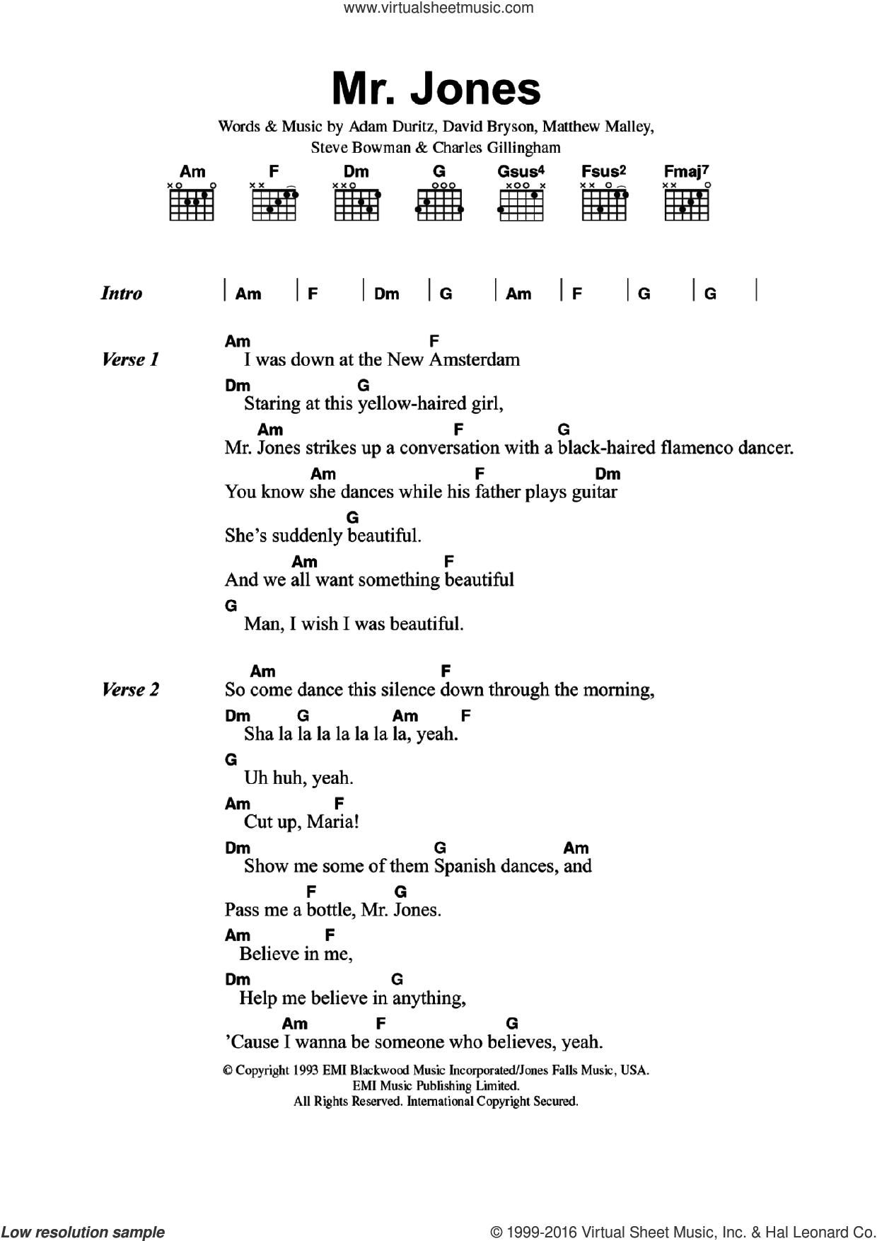 Mr. Jones sheet music for guitar (chords) by Counting Crows, Adam Duritz, Charles Gillingham, David Bryson, Matthew Malley and Steve Bowman, intermediate skill level