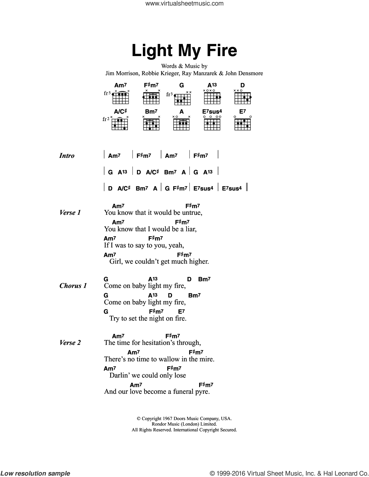 Light My Fire sheet music for guitar (chords) by Robbie Krieger. Score Image Preview.