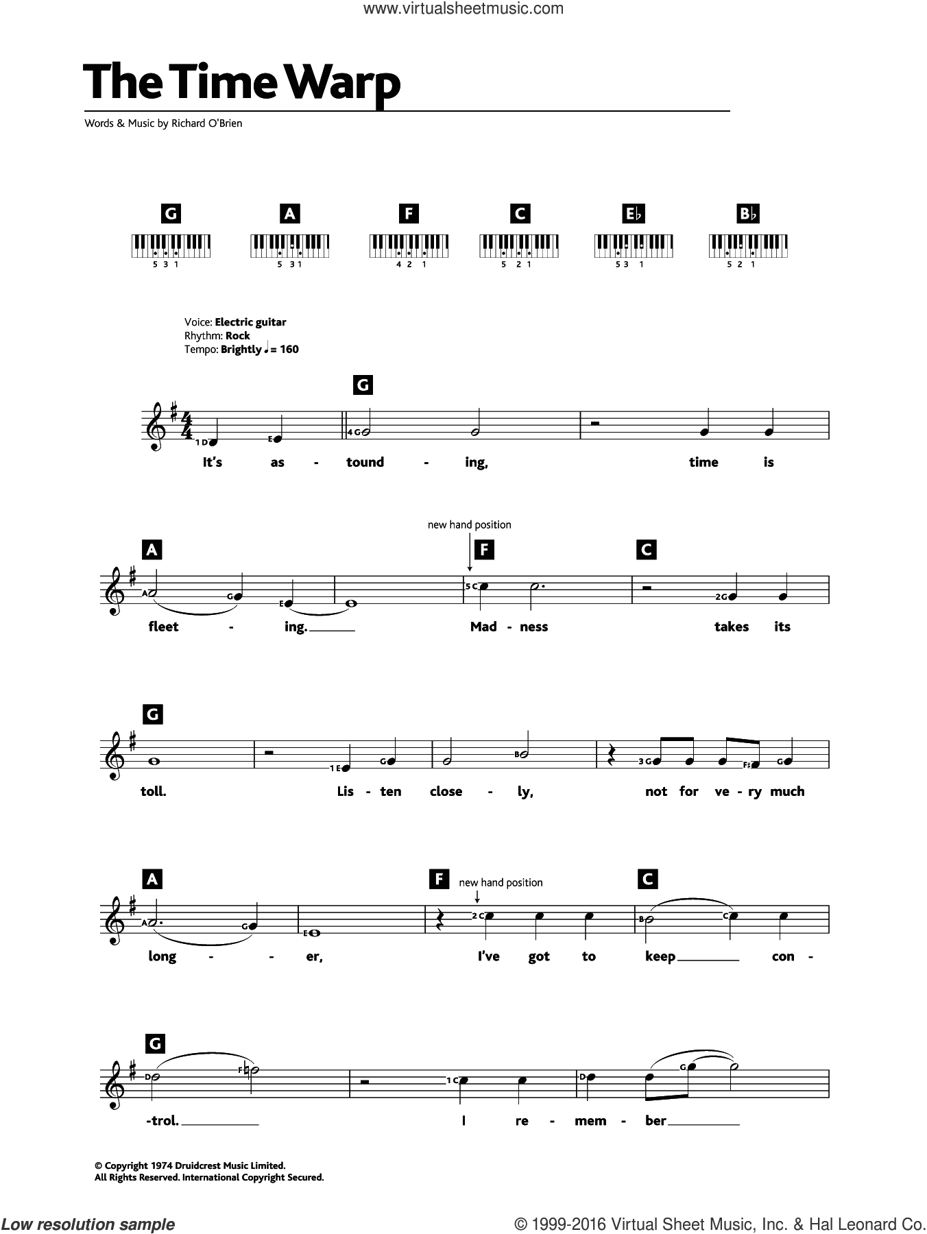 The Time Warp (from The Rocky Horror Picture Show) sheet music for piano solo (chords, lyrics, melody) by Richard O'Brien, intermediate piano (chords, lyrics, melody)