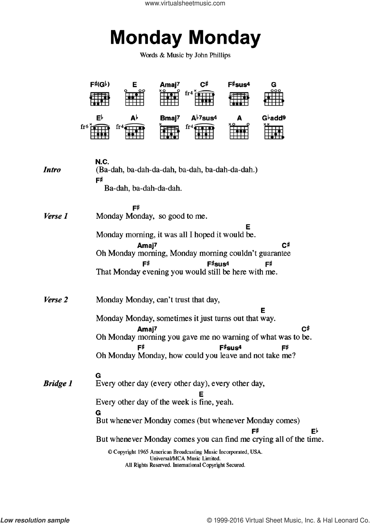 Monday Monday sheet music for guitar (chords) by John Phillips and The Mamas & The Papas. Score Image Preview.