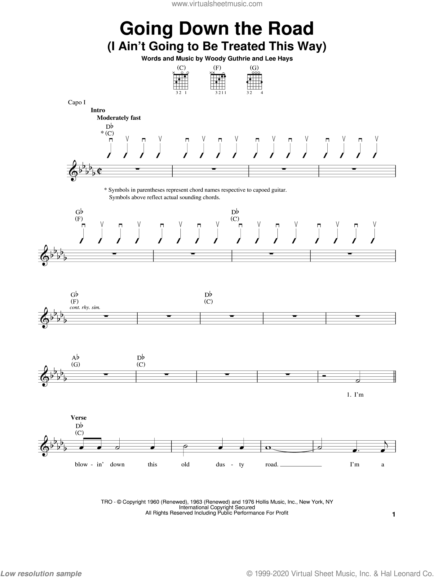 Going Down The Road (I Ain't Going To Be Treated This Way) sheet music for guitar solo (chords) by Woody Guthrie, easy guitar (chords). Score Image Preview.