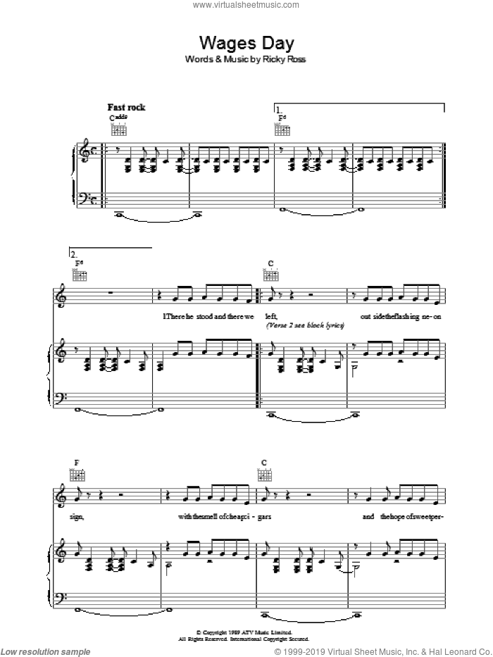Wages Day sheet music for voice, piano or guitar by Deacon Blue and Ricky Ross, intermediate skill level