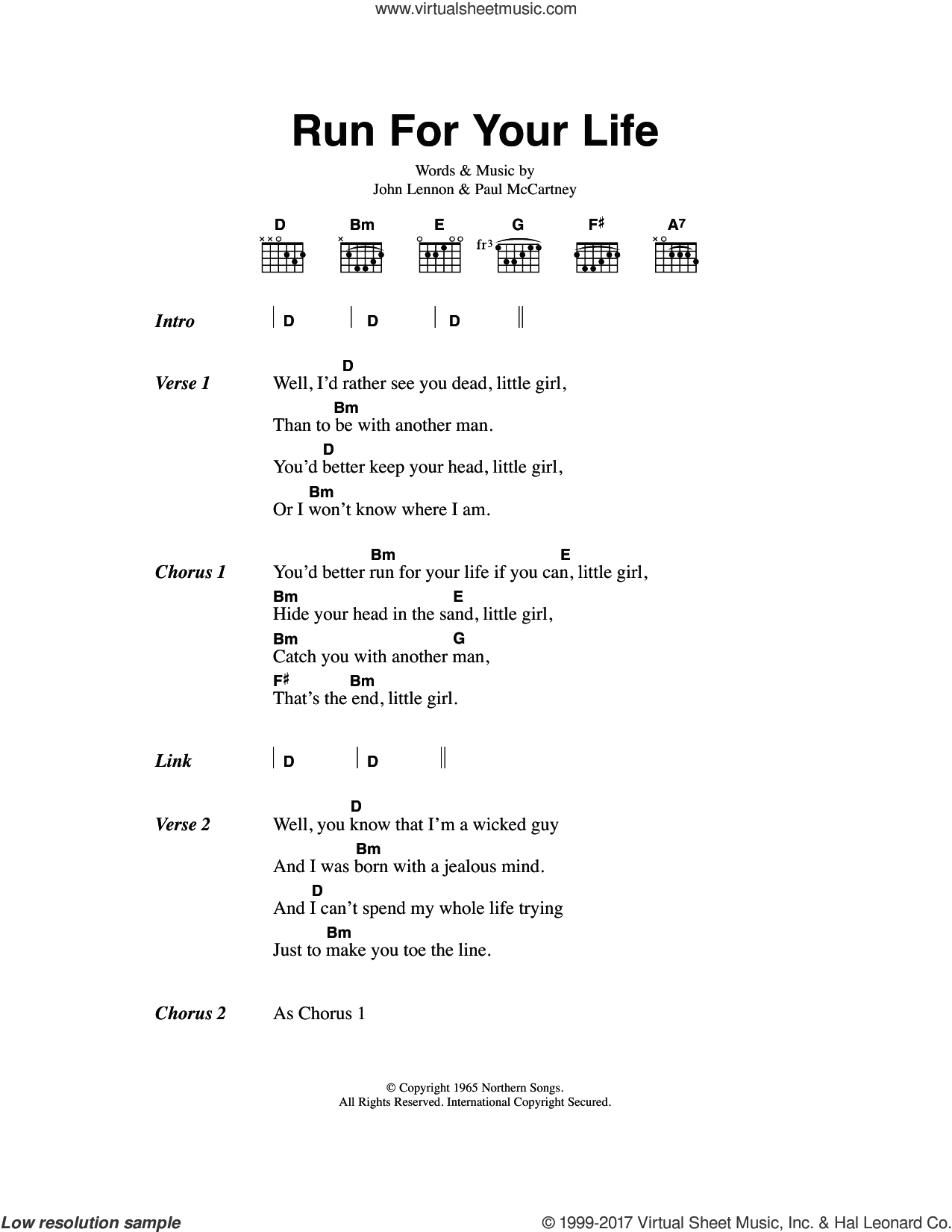 Run For Your Life sheet music for guitar (chords) by The Beatles, John Lennon and Paul McCartney, intermediate skill level