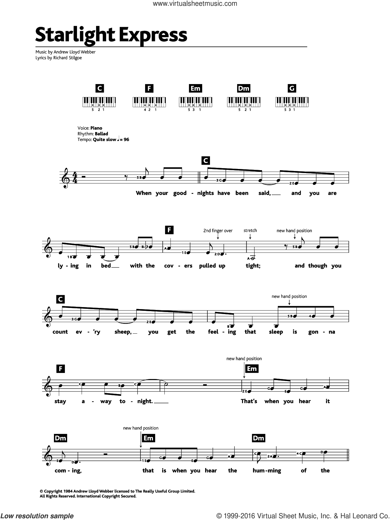 Starlight Express sheet music for piano solo (chords, lyrics, melody) by Andrew Lloyd Webber, intermediate piano (chords, lyrics, melody). Score Image Preview.