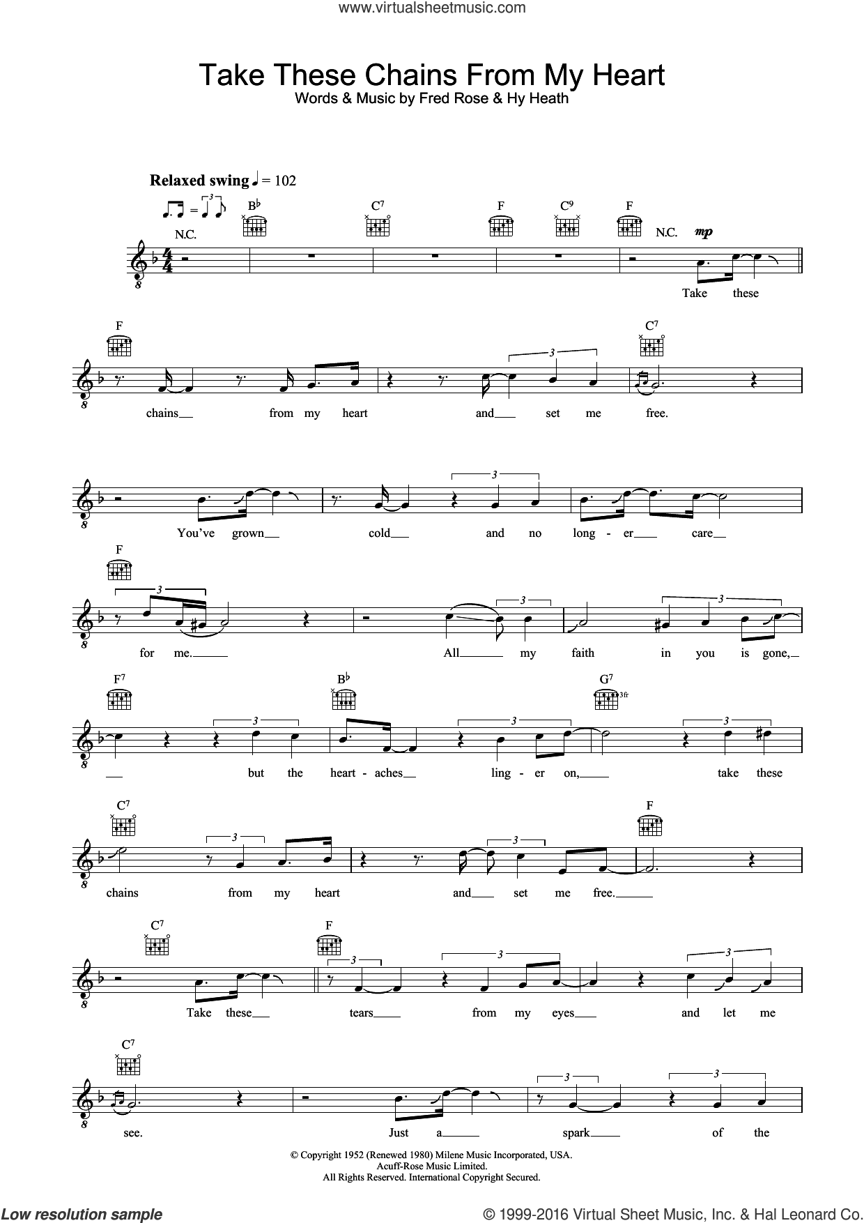 Take These Chains From My Heart sheet music for voice and other instruments (fake book) by Ray Charles, Fred Rose and Hy Heath, intermediate skill level