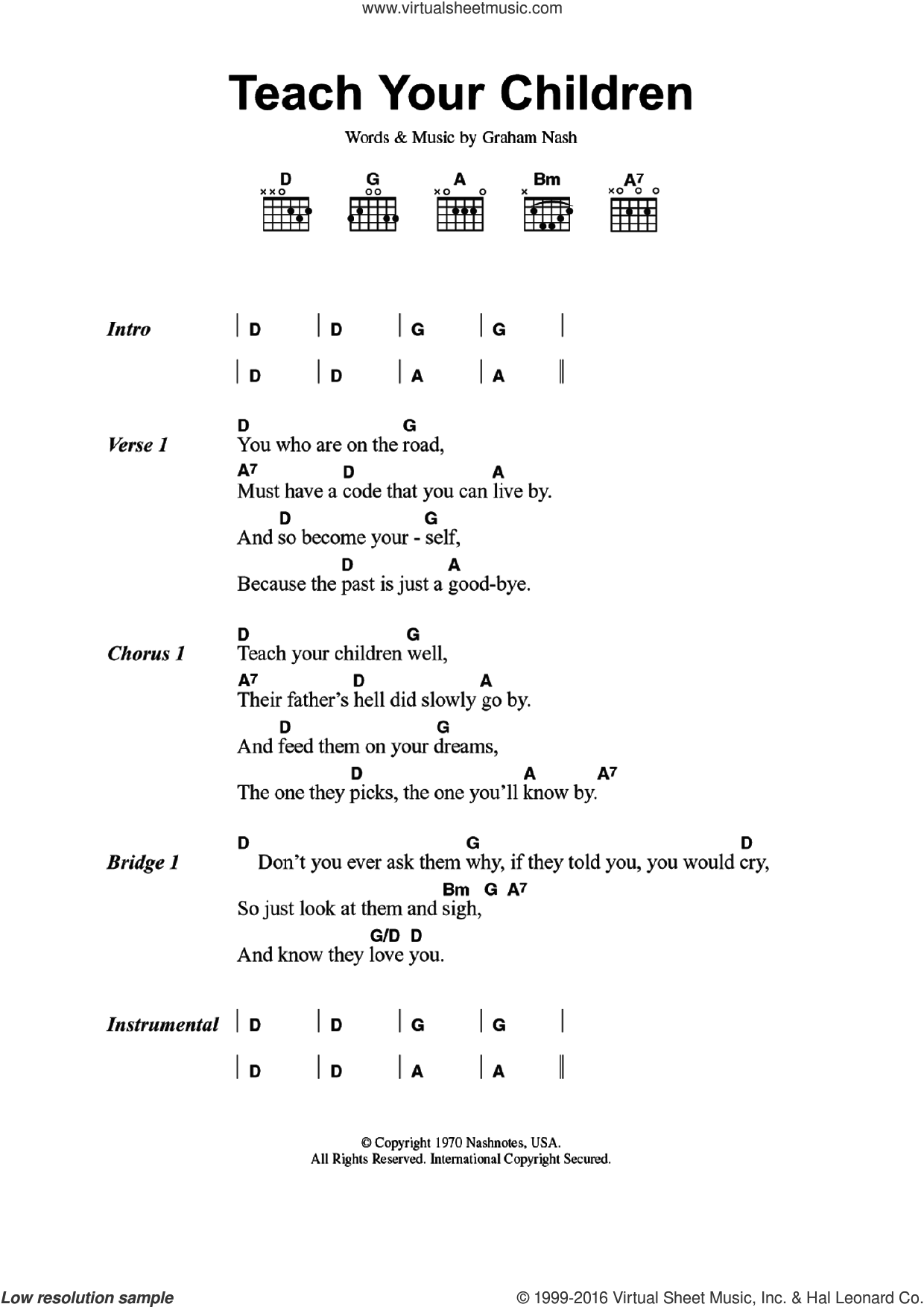 Teach Your Children sheet music for guitar (chords) by Graham Nash, intermediate. Score Image Preview.