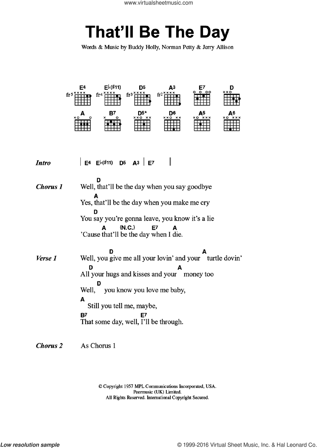 That'll Be The Day sheet music for guitar (chords) by Buddy Holly and Jerry Allison, intermediate. Score Image Preview.