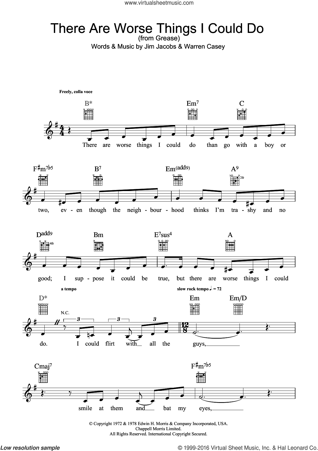 There Are Worse Things I Could Do (from Grease) sheet music for voice and other instruments (fake book) by Stockard Channing, Jim Jacobs and Warren Casey, intermediate skill level