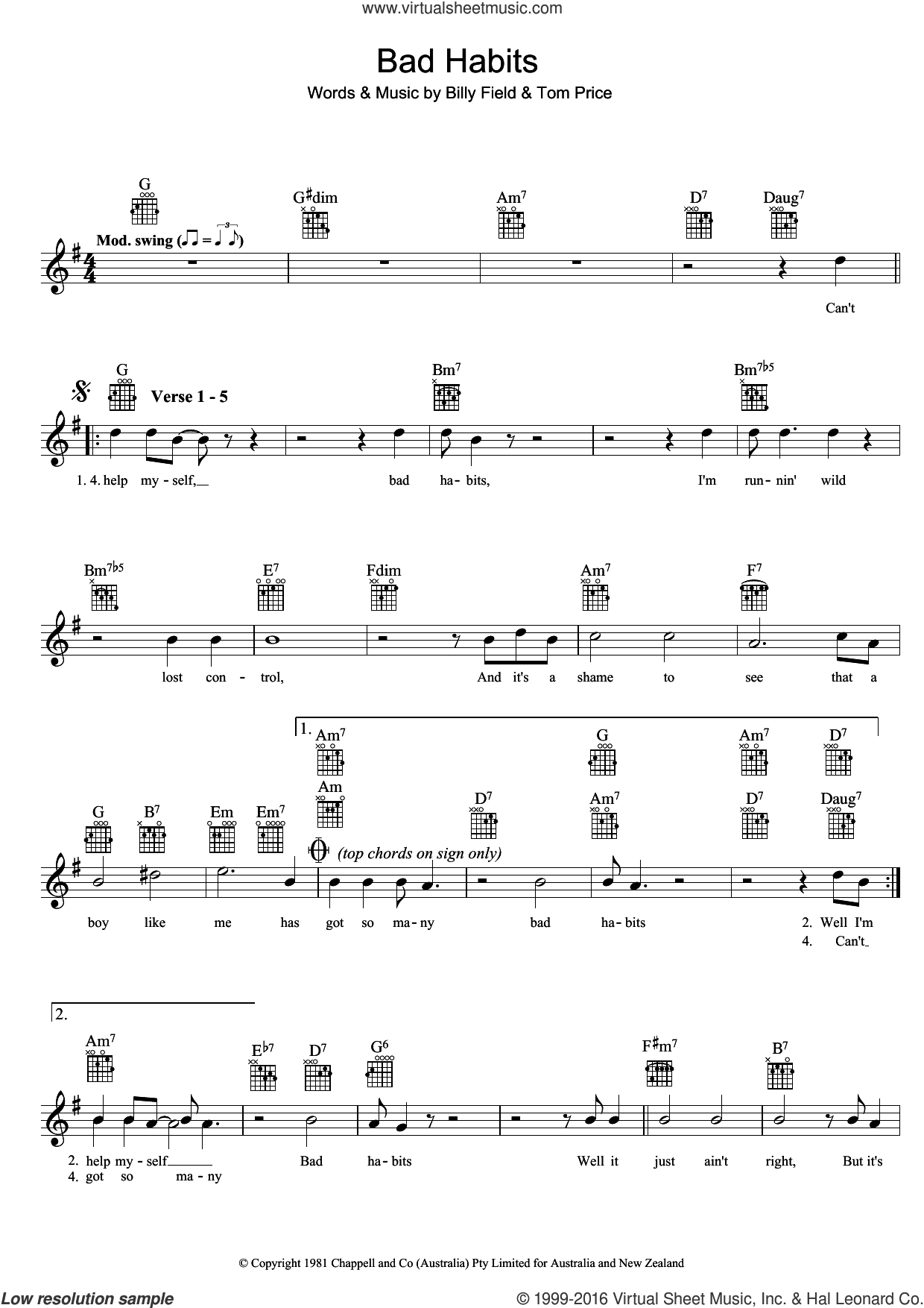 Bad Habits sheet music for voice and other instruments (fake book) by Tom Price. Score Image Preview.