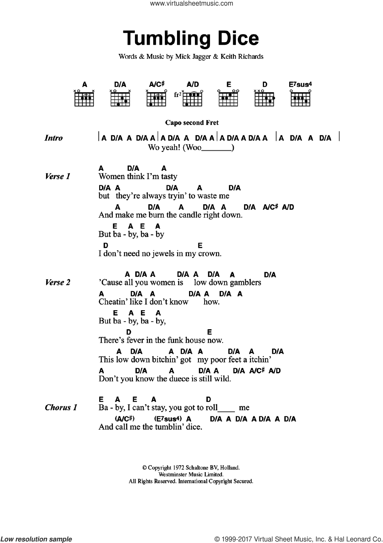 Tumbling Dice sheet music for guitar (chords) by The Rolling Stones, Keith Richards and Mick Jagger, intermediate