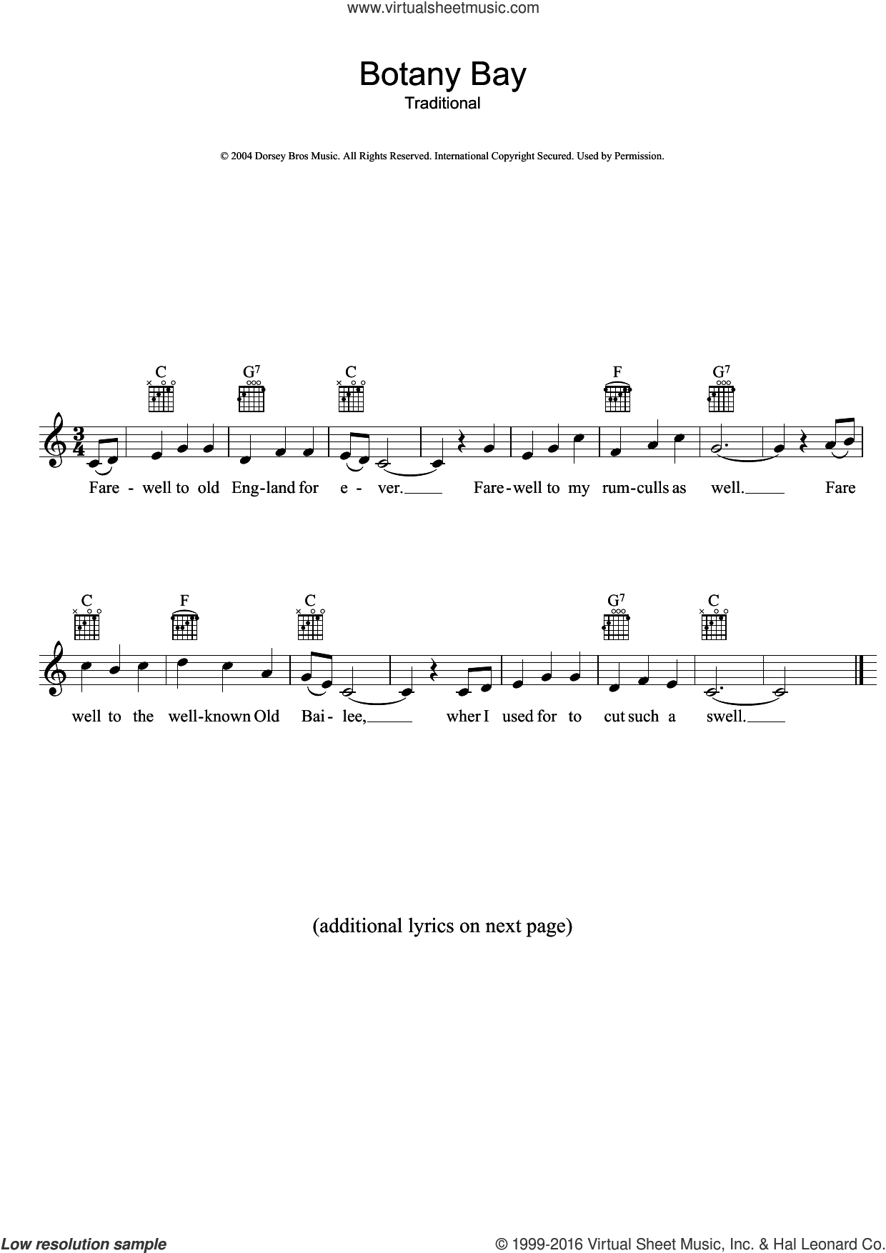 Botany Bay sheet music for voice and other instruments (fake book), intermediate skill level