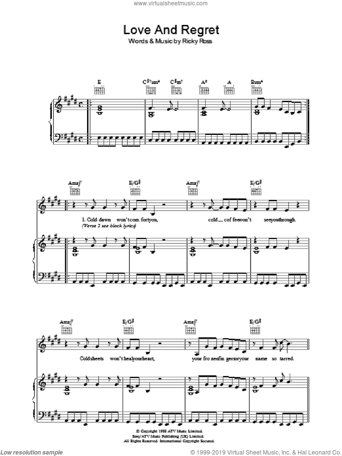 Love And Regret sheet music for voice, piano or guitar by Ricky Ross