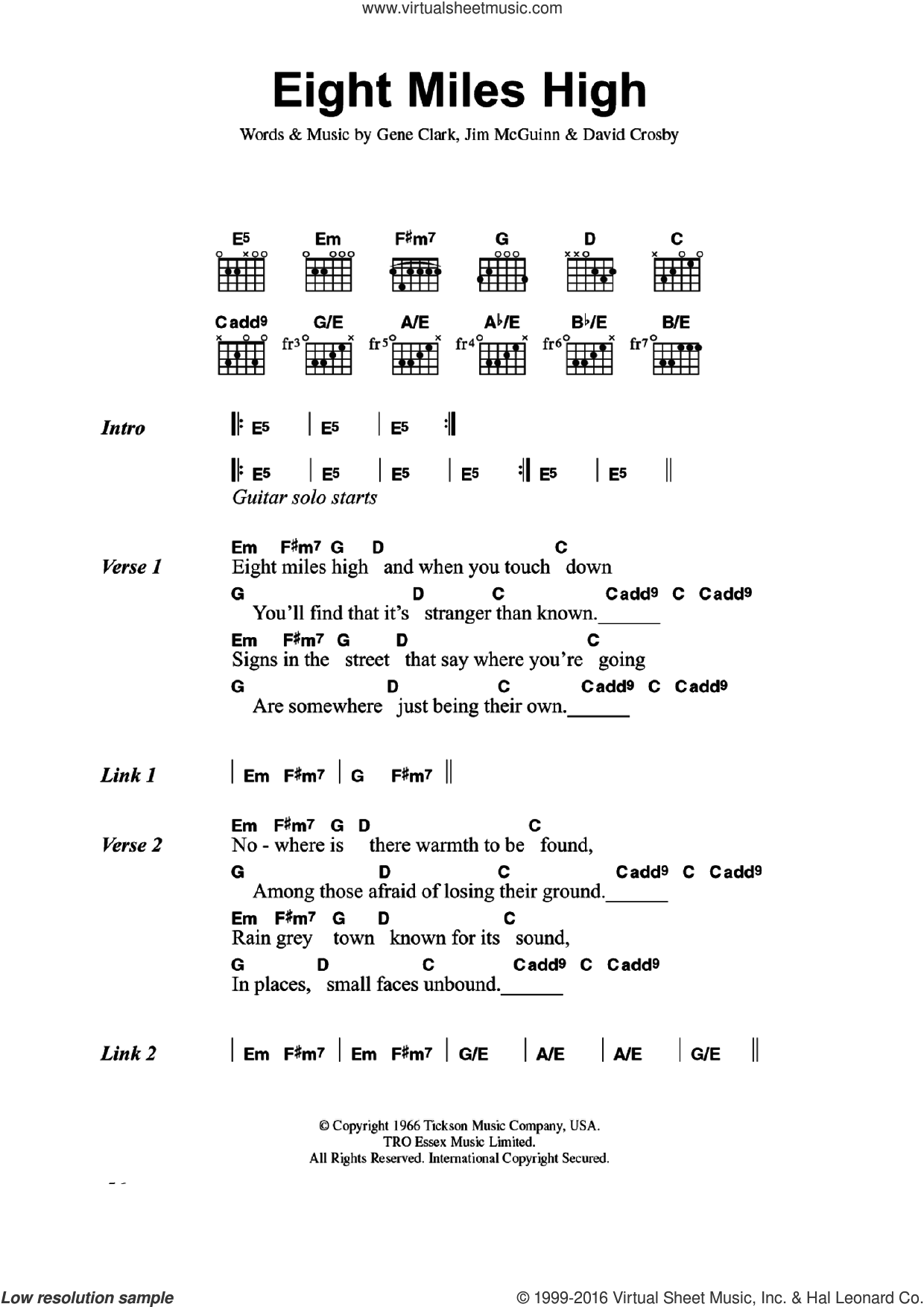 Eight Miles High sheet music for guitar (chords) by The Byrds, David Crosby, Gene Clark and Jim McGuinn, intermediate