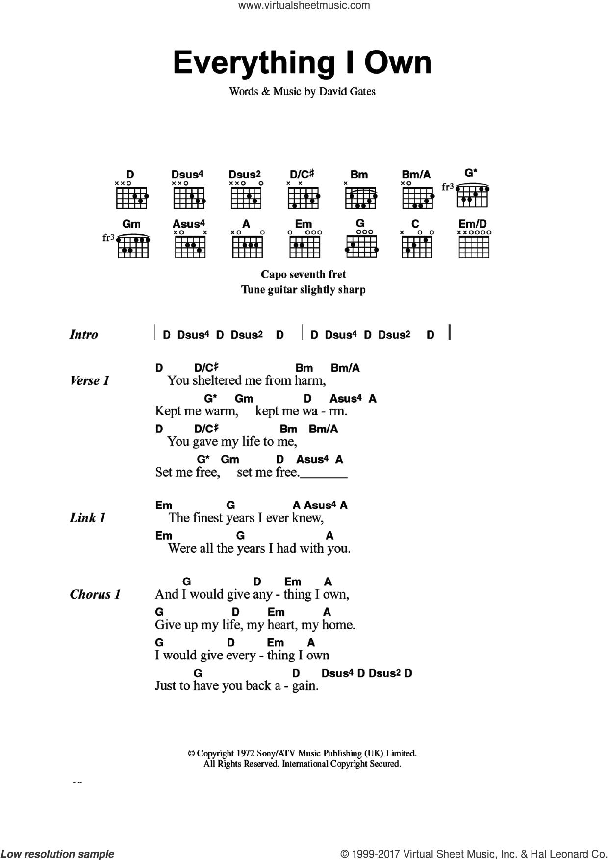 Everything I Own sheet music for guitar (chords) by Bread and David Gates, intermediate skill level
