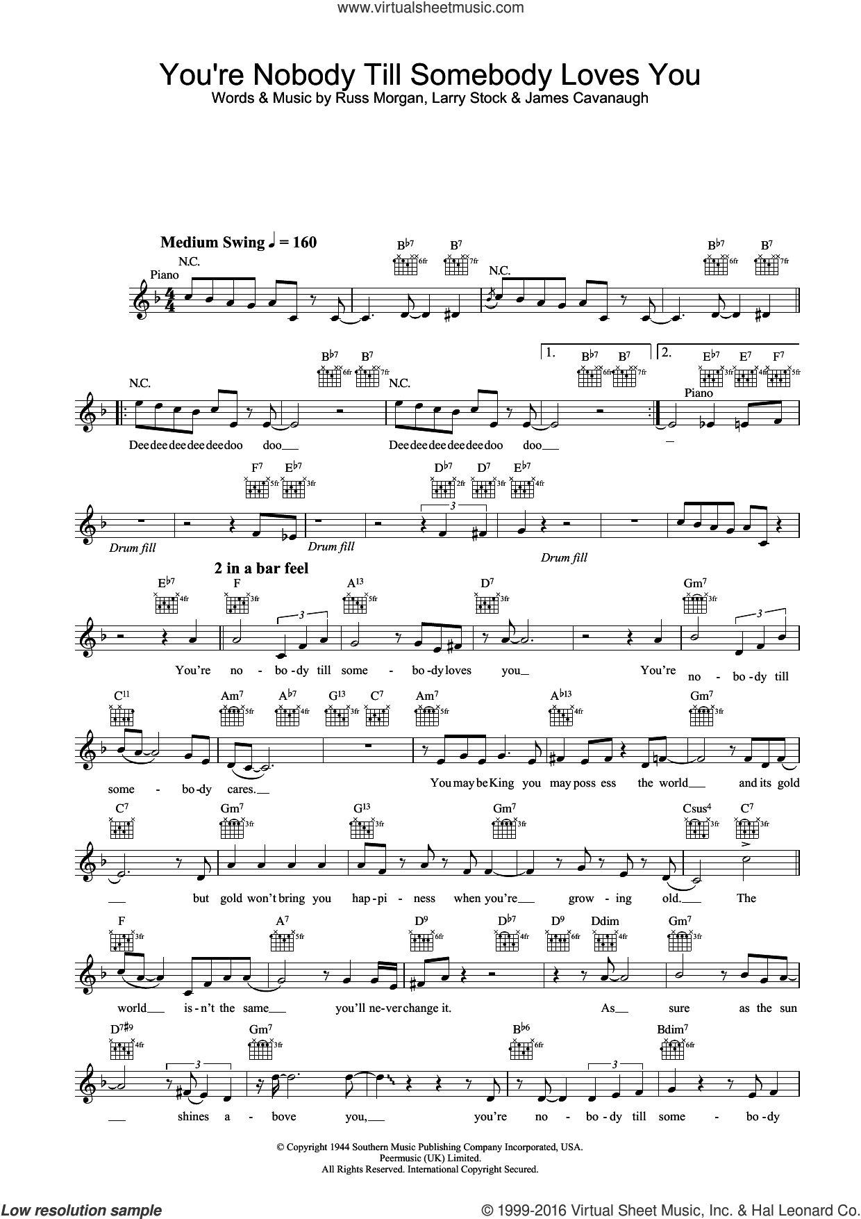 You're Nobody Till Somebody Loves You sheet music for voice and other instruments (fake book) by Jamie Cullum and Russ Morgan, intermediate. Score Image Preview.