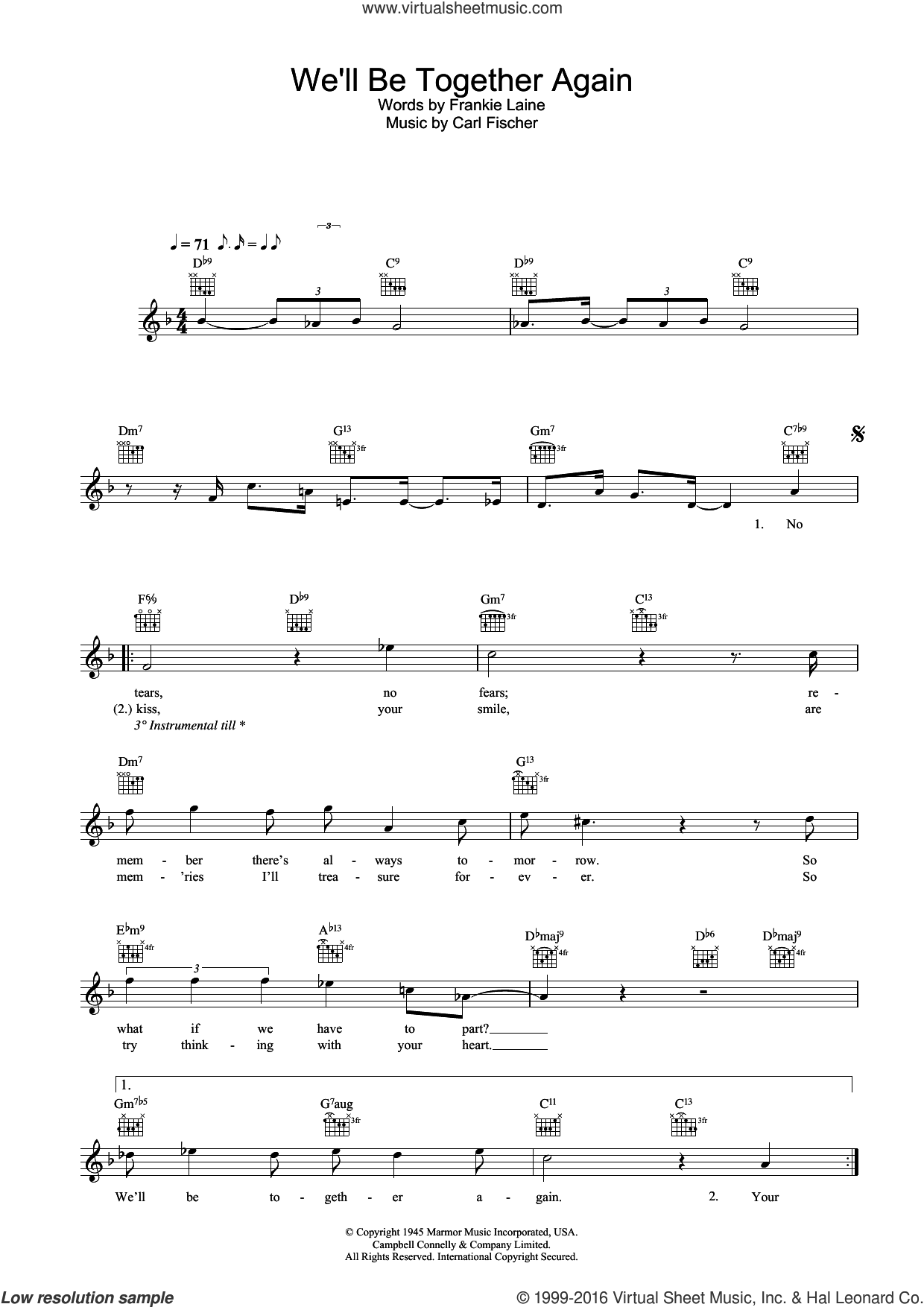 We'll Be Together Again sheet music for voice and other instruments (fake book) by Rod Stewart, Carl Fischer and Frankie Laine, intermediate skill level