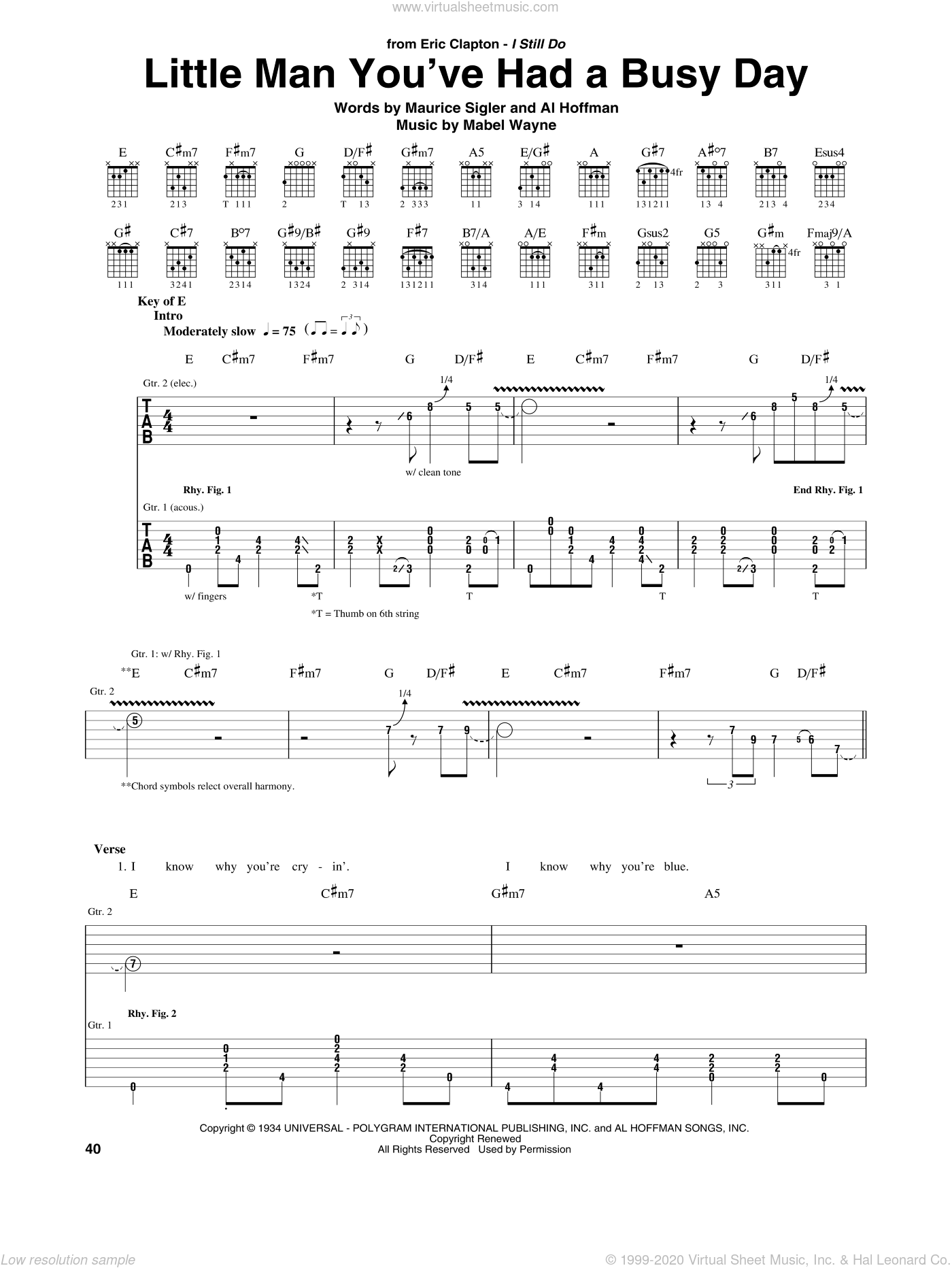 Little Man You've Had A Busy Day sheet music for guitar (rhythm tablature) by Maurice Sigler, Eric Clapton, Al Hoffman and Mabel Wayne. Score Image Preview.