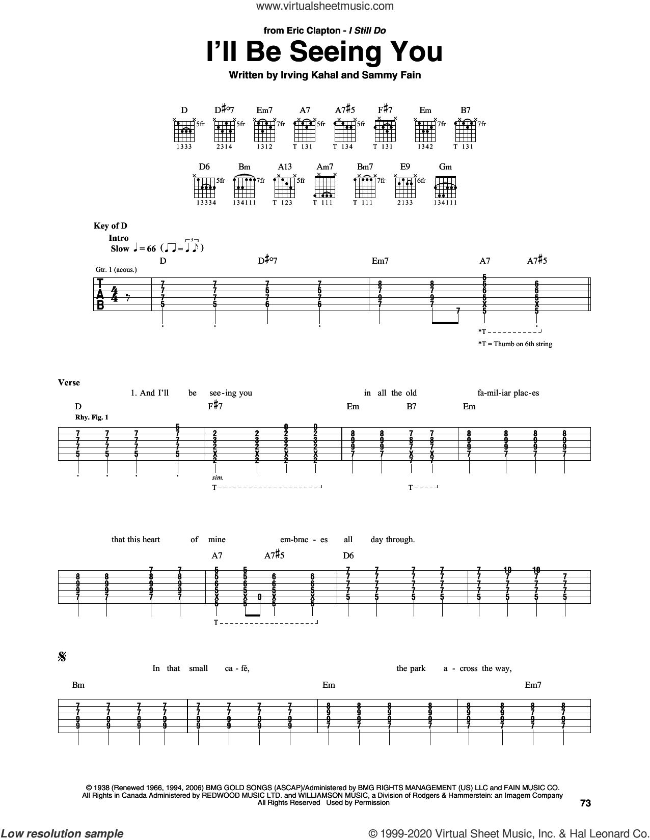 I'll Be Seeing You sheet music for guitar (rhythm tablature) by Eric Clapton, Irving Kahal and Sammy Fain, classical wedding score, intermediate skill level