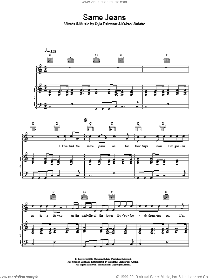 Same Jeans sheet music for voice, piano or guitar by Keiren Webster