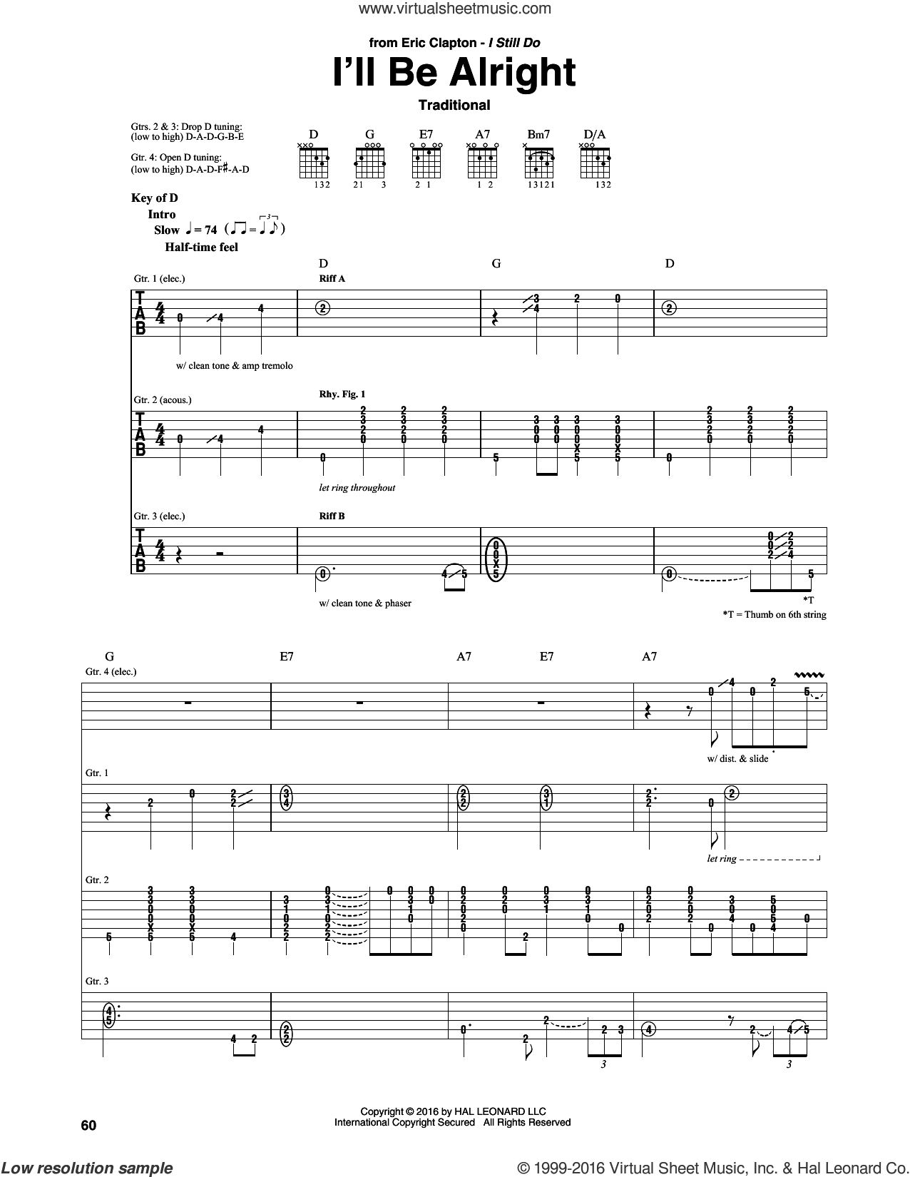 I'll Be Alright sheet music for guitar (rhythm tablature) by Eric Clapton and Miscellaneous, intermediate skill level