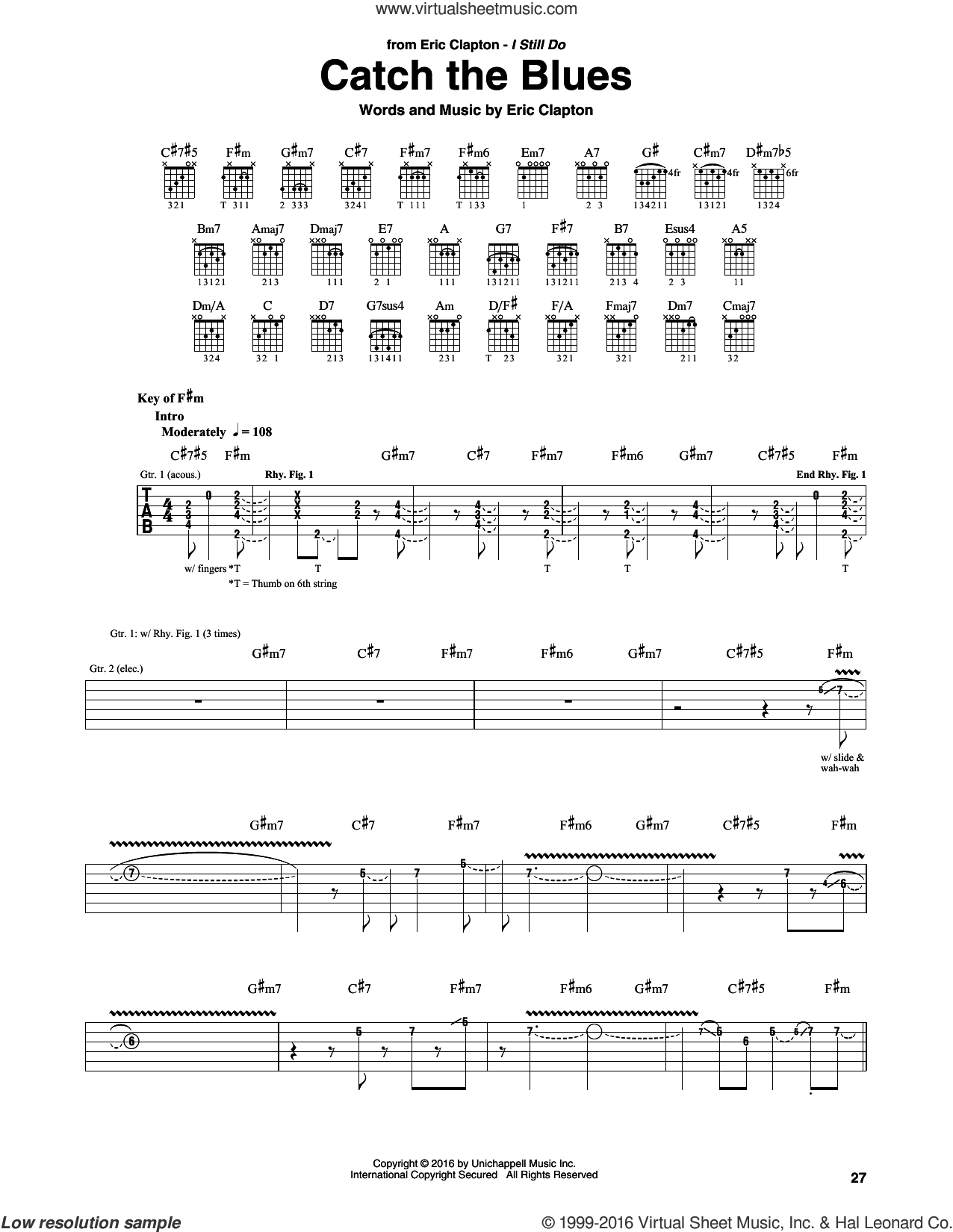 Catch The Blues sheet music for guitar (rhythm tablature) by Eric Clapton, intermediate skill level