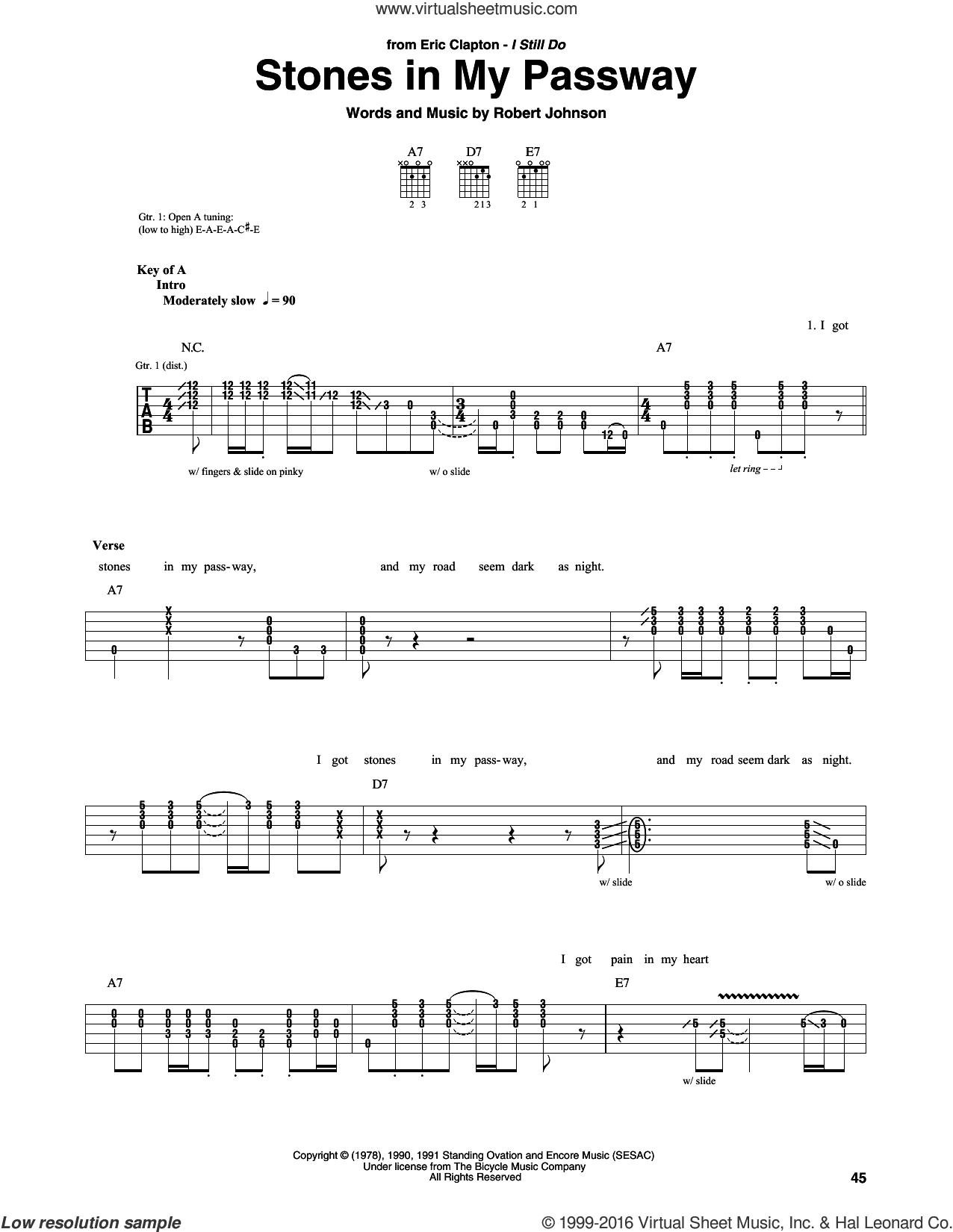 Stones In My Passway sheet music for guitar (rhythm tablature) by Eric Clapton and Robert Johnson, intermediate skill level