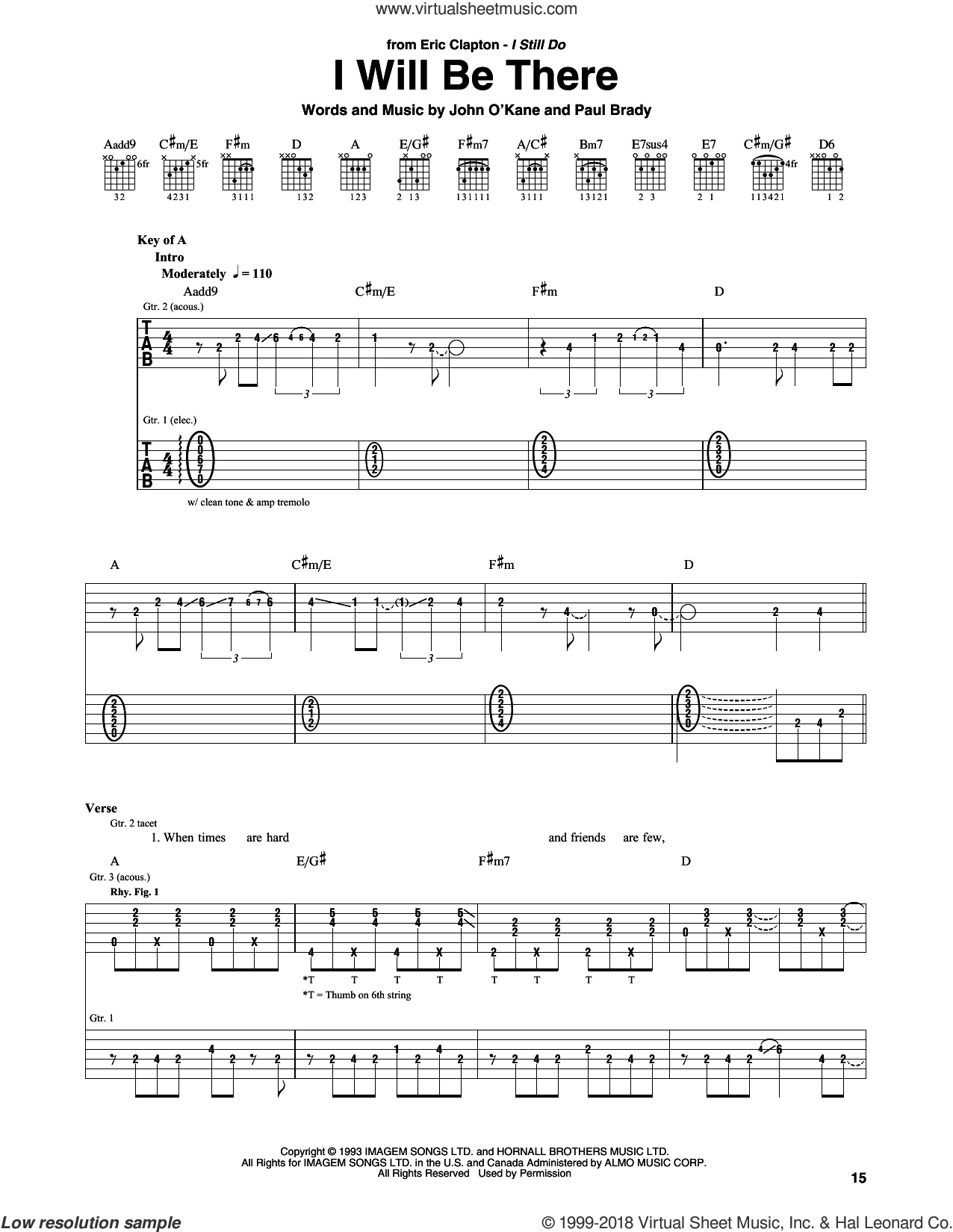 I Will Be There sheet music for guitar (rhythm tablature) by Eric Clapton and Paul Brady, intermediate skill level