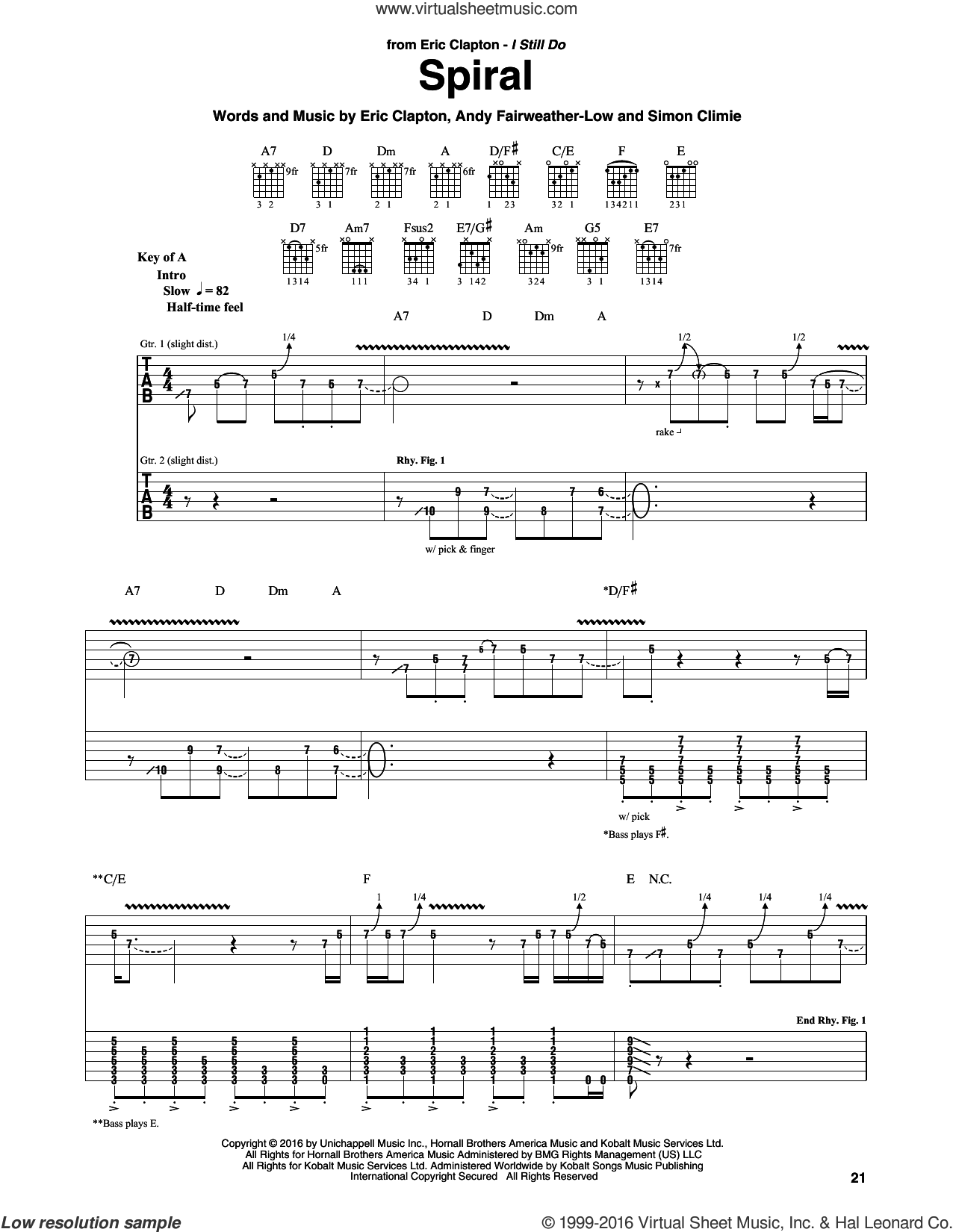 Spiral sheet music for guitar (rhythm tablature) by Eric Clapton, Andy Fairweather-Low and Simon Climie, intermediate skill level