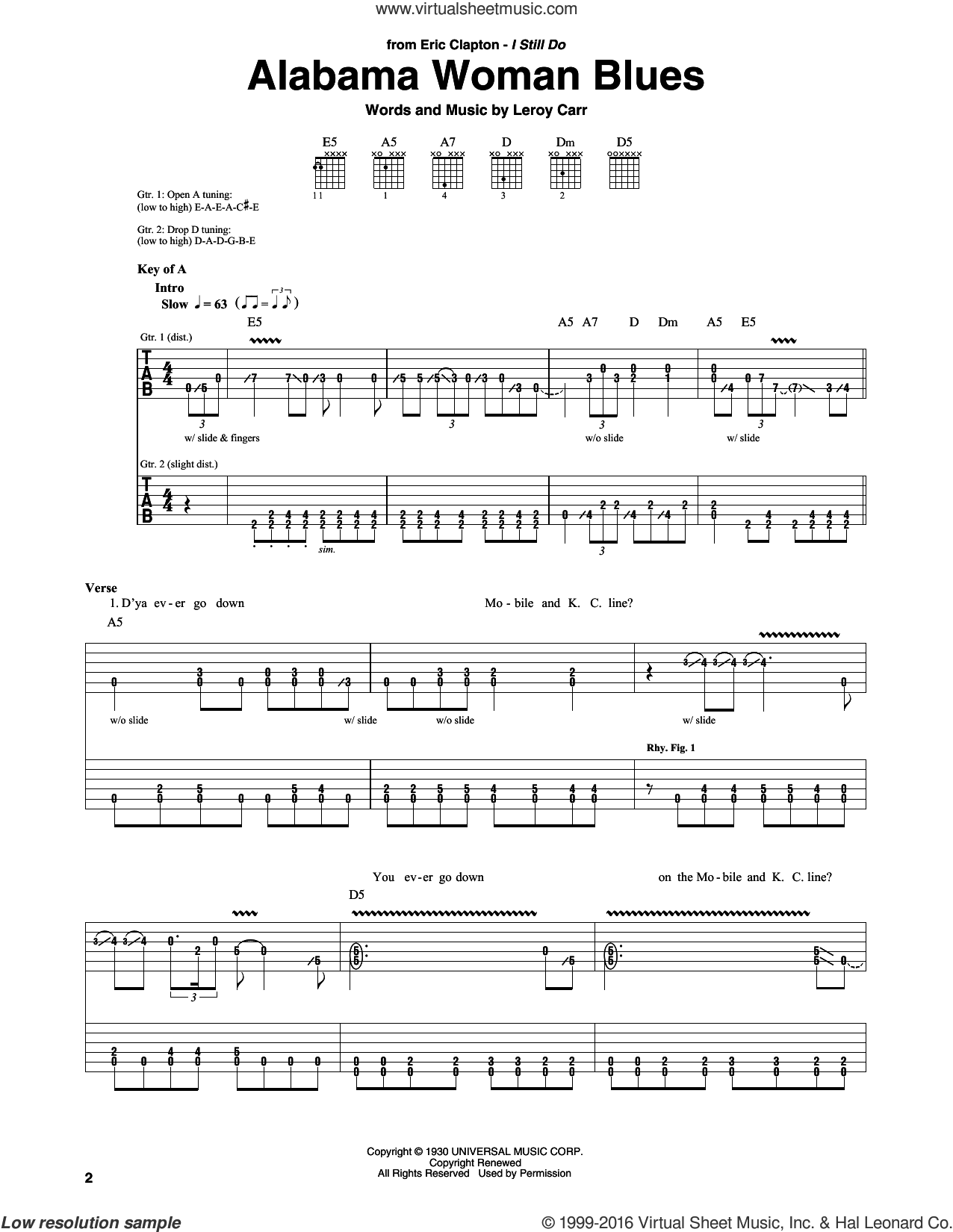 Alabama Woman Blues sheet music for guitar (rhythm tablature) by Eric Clapton and Leroy Carr, intermediate. Score Image Preview.
