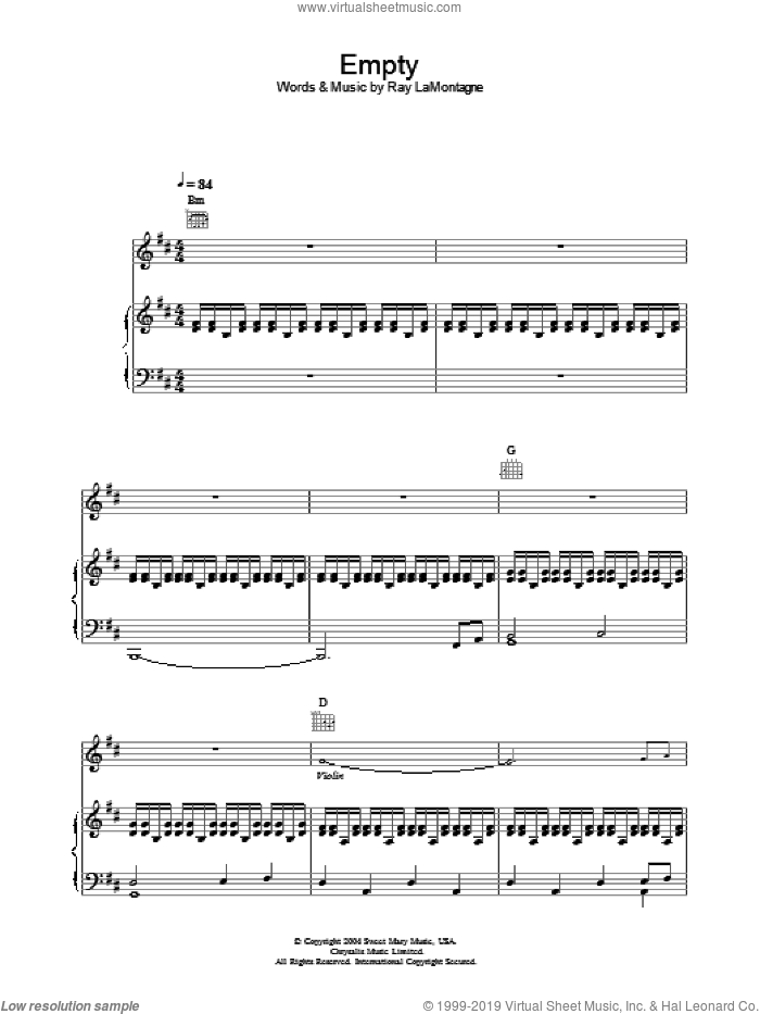 Empty sheet music for voice, piano or guitar by Ray LaMontagne. Score Image Preview.
