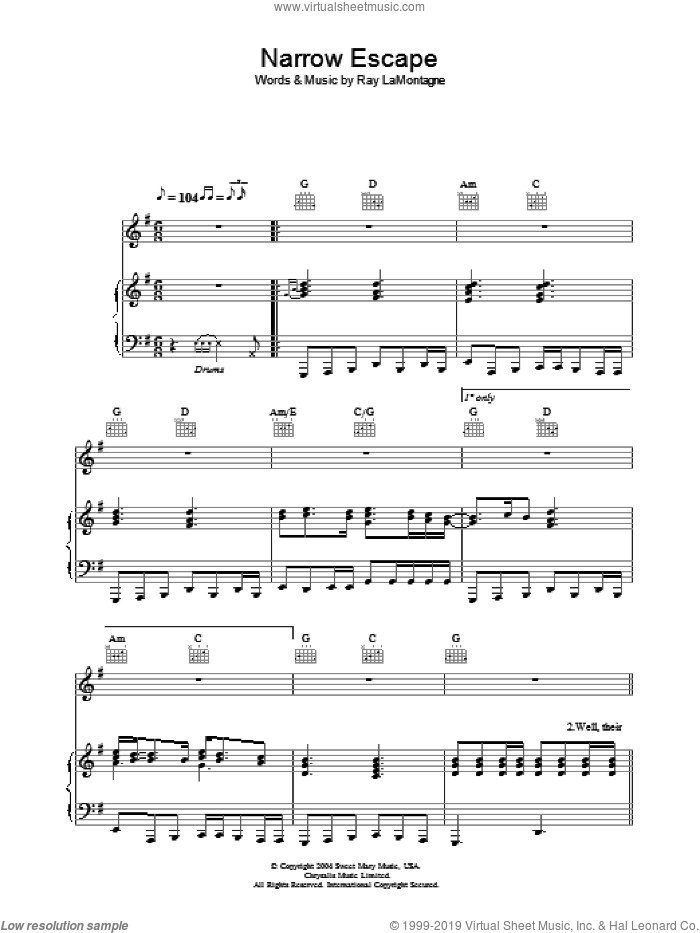 Narrow Escape sheet music for voice, piano or guitar by Ray LaMontagne. Score Image Preview.