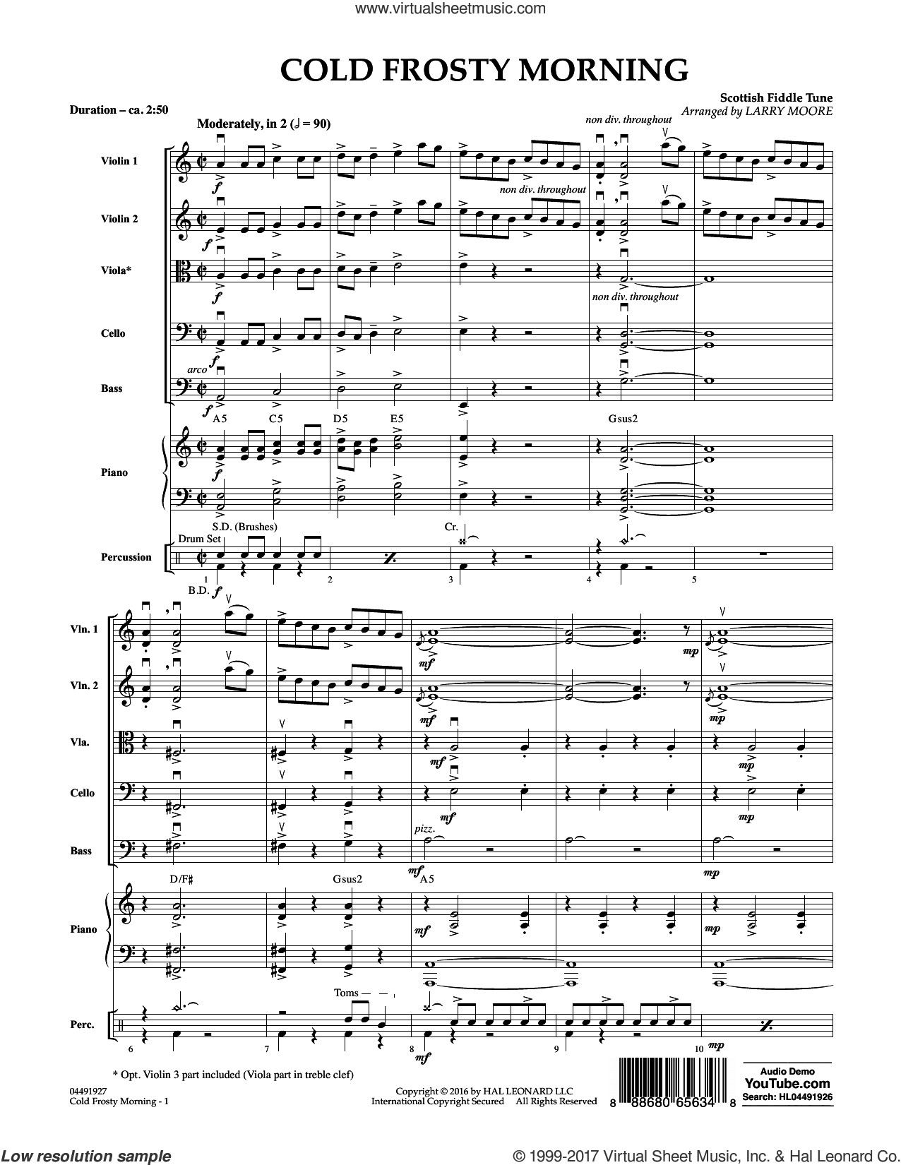 Cold Frosty Morning (COMPLETE) sheet music for orchestra by Larry Moore and Scottish Fiddle Tune, intermediate skill level