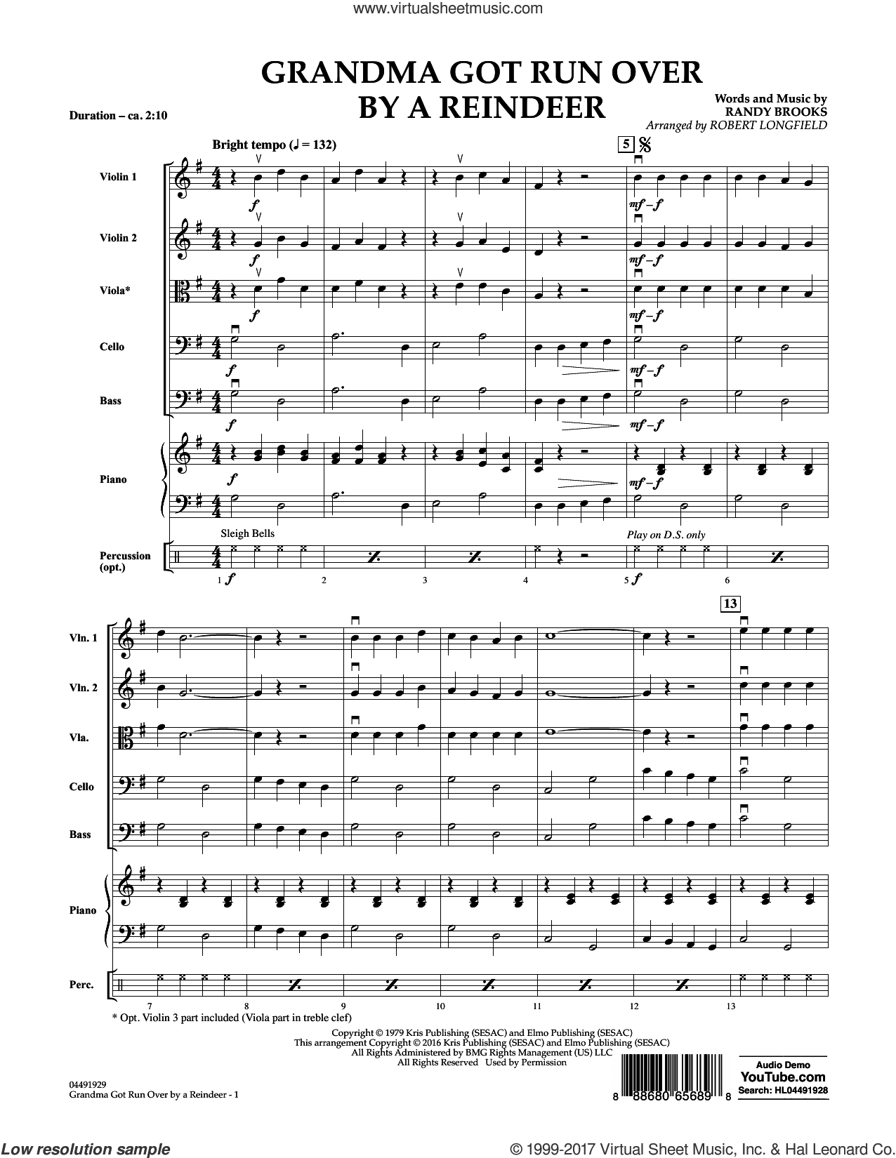 Grandma Got Run Over by a Reindeer (COMPLETE) sheet music for orchestra by Robert Longfield and Randy Brooks, intermediate. Score Image Preview.