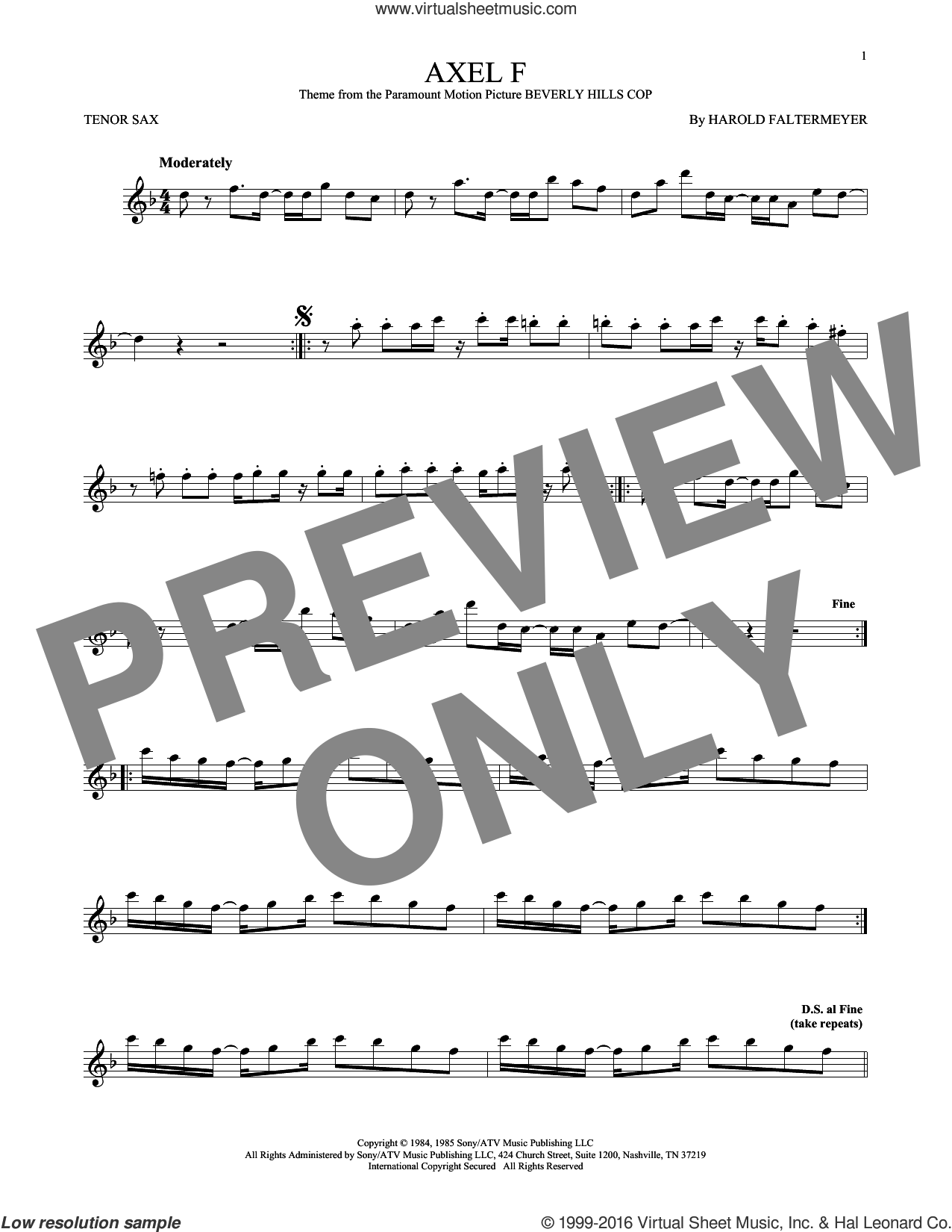 Axel F sheet music for tenor saxophone solo by Crazy Frog and Harold Faltermeyer, intermediate skill level