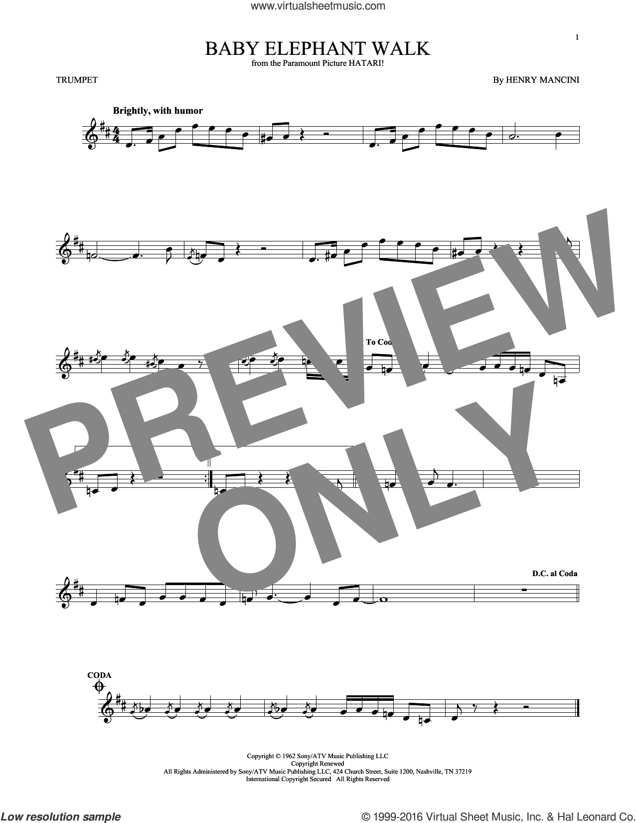 Baby Elephant Walk sheet music for trumpet solo by Henry Mancini, Lawrence Welk and Hal David, intermediate trumpet. Score Image Preview.