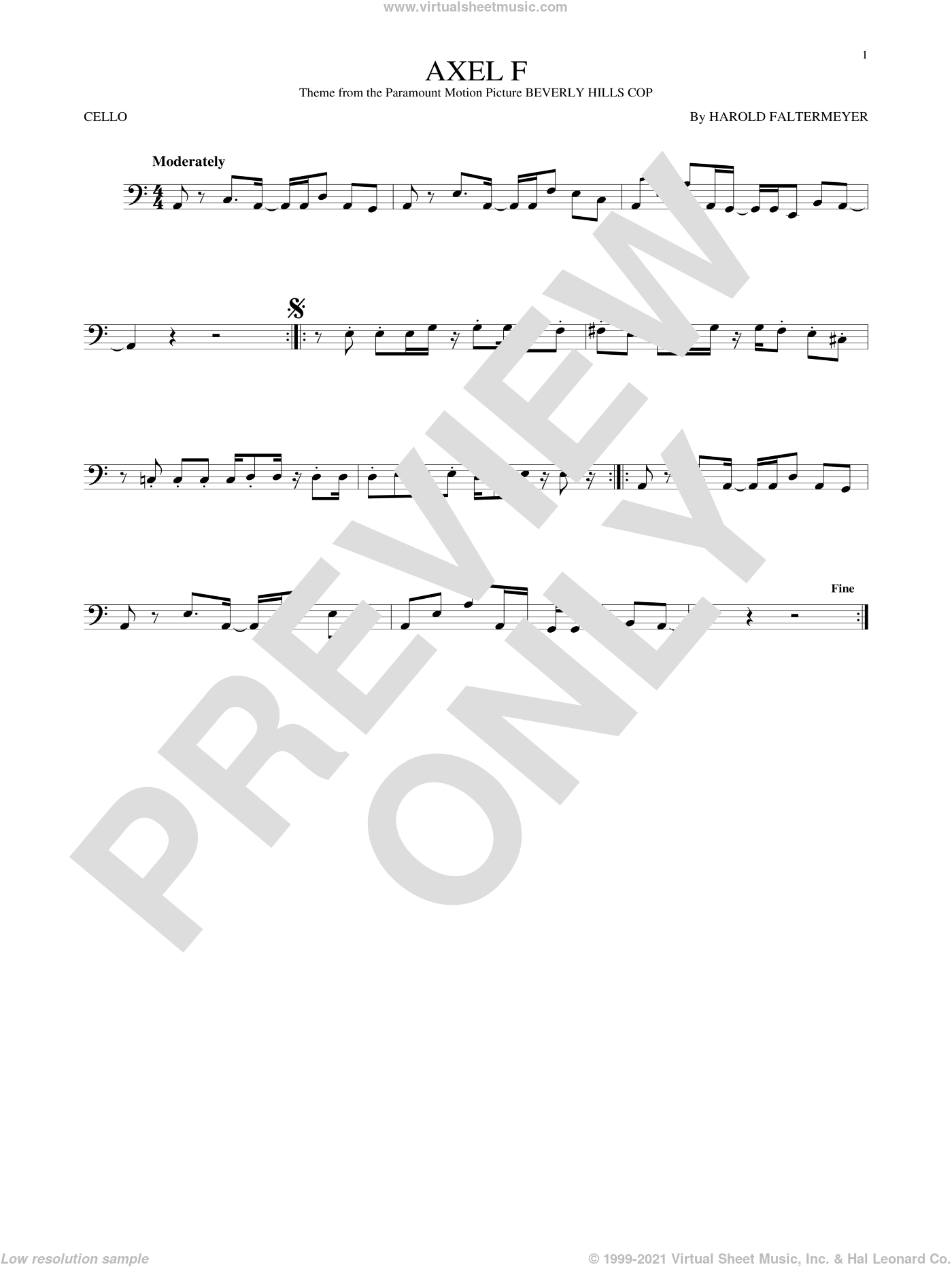 Axel F sheet music for cello solo by Crazy Frog and Harold Faltermeyer. Score Image Preview.