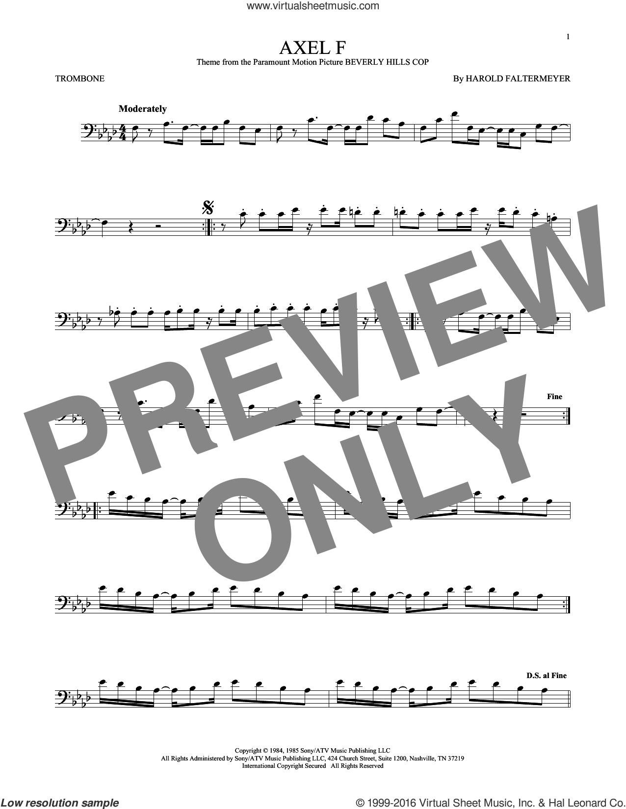 Axel F sheet music for trombone solo by Crazy Frog and Harold Faltermeyer, intermediate skill level