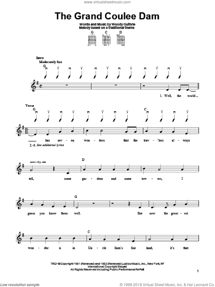 The Grand Coulee Dam sheet music for guitar solo (chords) by Woody Guthrie, easy guitar (chords)