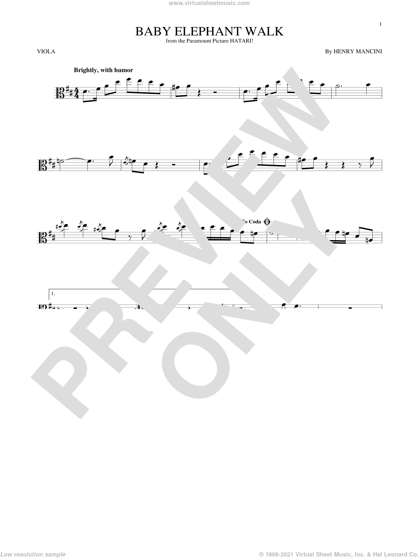 Baby Elephant Walk sheet music for viola solo by Henry Mancini, Lawrence Welk and Hal David, intermediate skill level