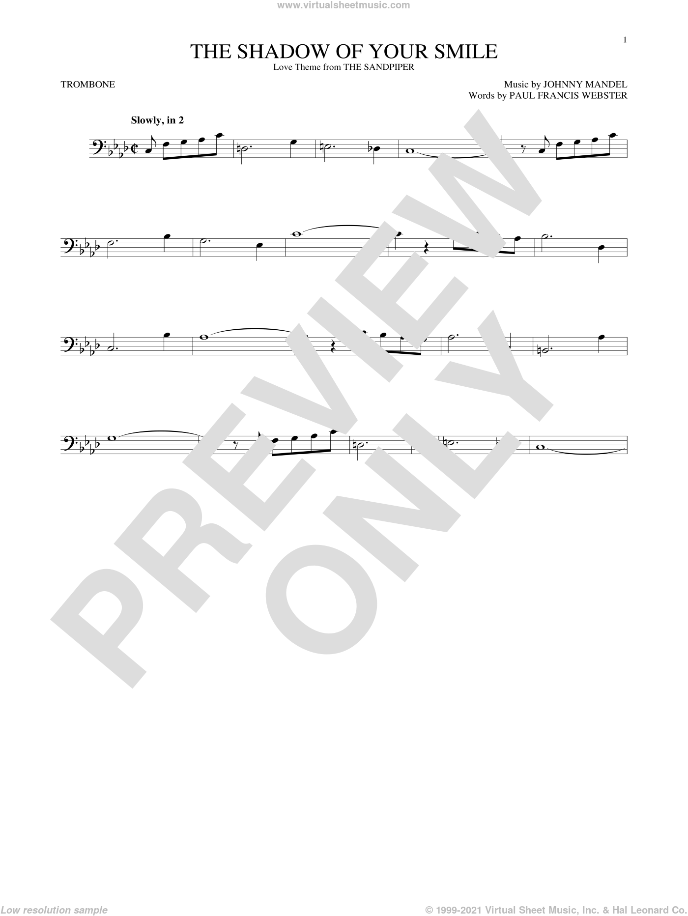 The Shadow Of Your Smile sheet music for trombone solo by Paul Francis Webster and Johnny Mandel. Score Image Preview.