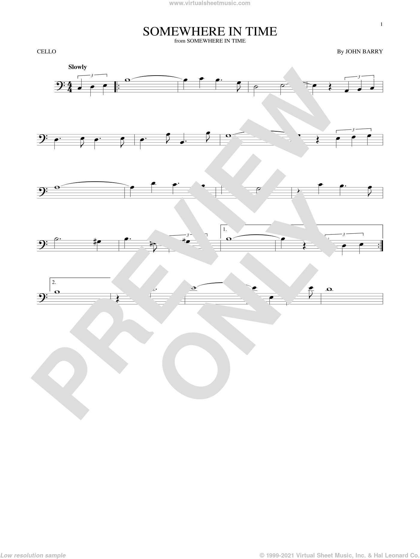 Somewhere In Time sheet music for cello solo by John Barry and B.A. Robertson, intermediate. Score Image Preview.